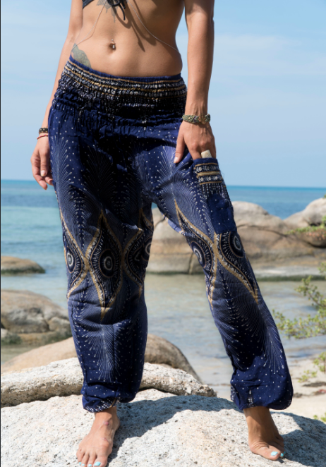 High Cut Harem Pants - Diamond Peacock Feather - Blue