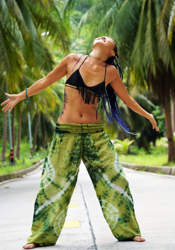 High Cut Harem Pants - Tie Dye - Green