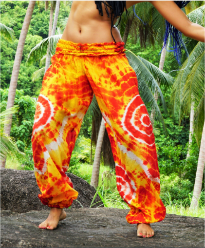 High Cut Harem Pants - Tie Dye - Yellow & Red