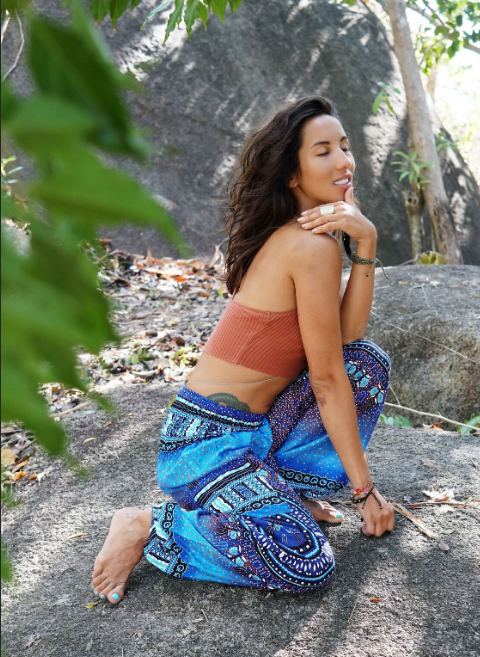 High Cut Harem Pants - Chakra Pattern - Blue