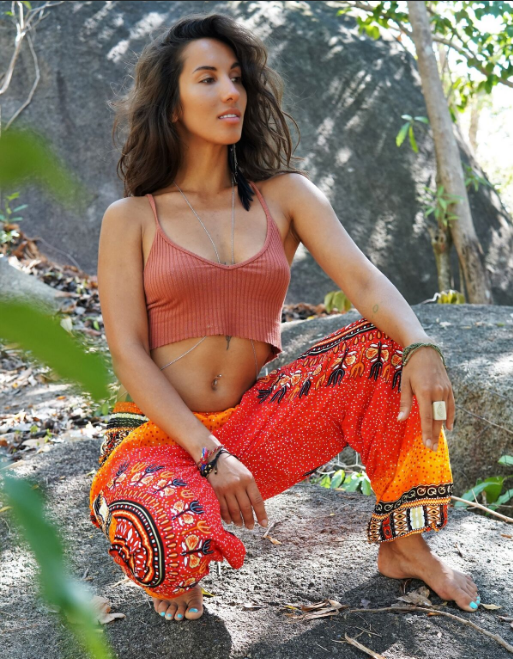 High Cut Harem Pants - Tribal Chakra - Orange