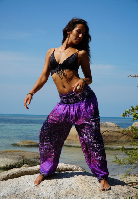 High Cut Harem Pants - Tribal Chakra - Purple