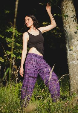 High Cut Harem Pants - Tribal Elephant Print - Purple