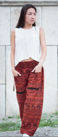 High Cut Harem Pants - Tribal Elephant Print - Red