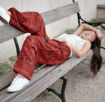 High Cut Harem Pants - Elephant Print - Red
