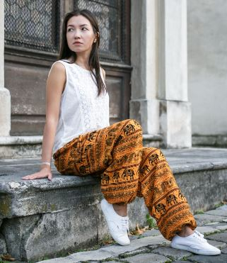 High Cut Harem Pants - Tribal Elephant Print - Yellow