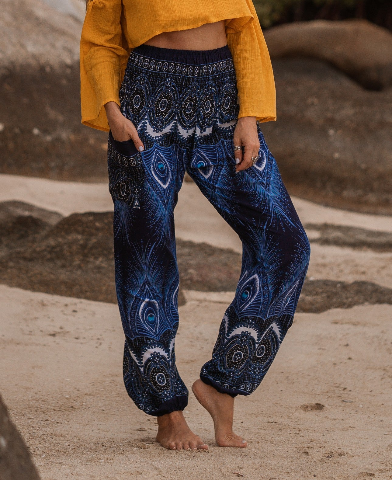 High Cut Harem Pants - Vibrant Peacock Feather Print - Blue