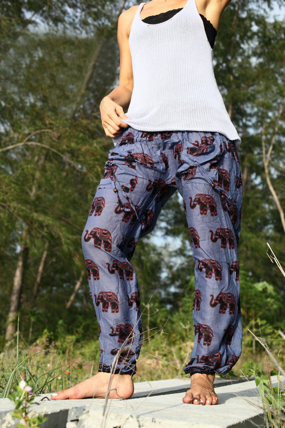 High Cut Harem Pants - Elephant Print - Blue