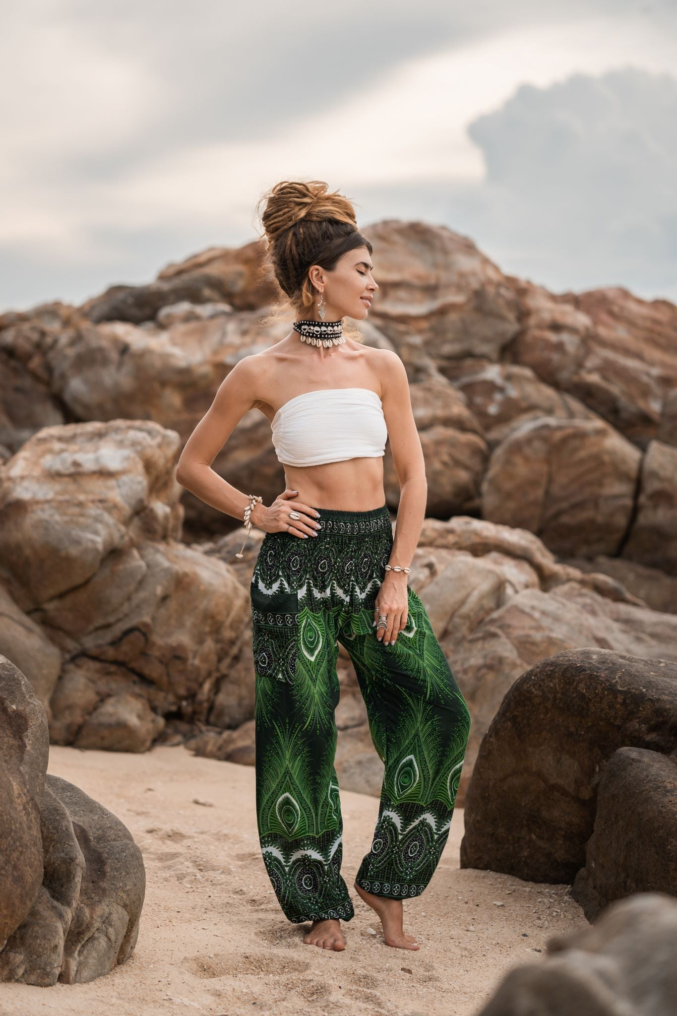 High Cut Harem Pants - Vibrant Peacock Feather Print - Bright Green