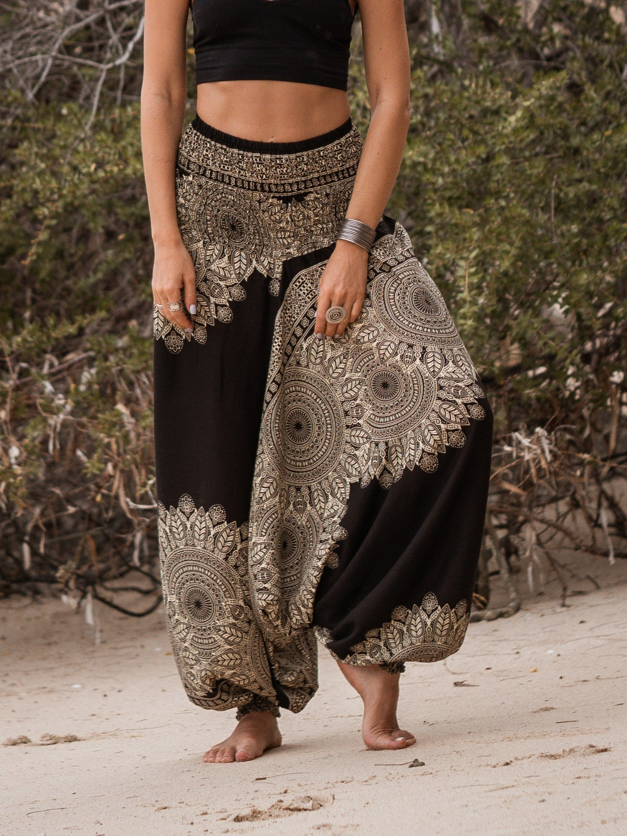 Harem Pants - Plain Mandala Print - Black