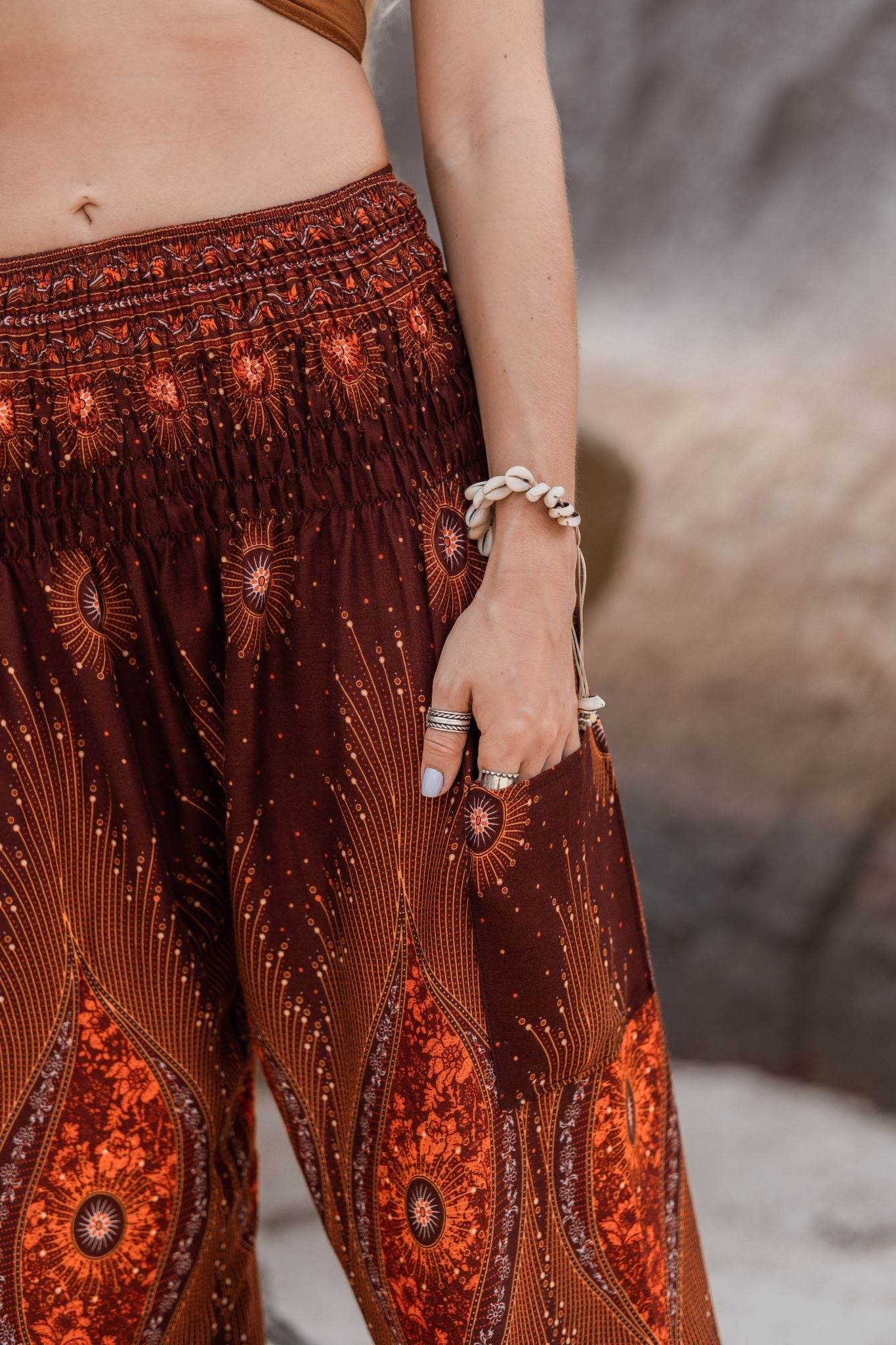 High Cut Harem Pants - Dazzling Peacock Feather - Bronze