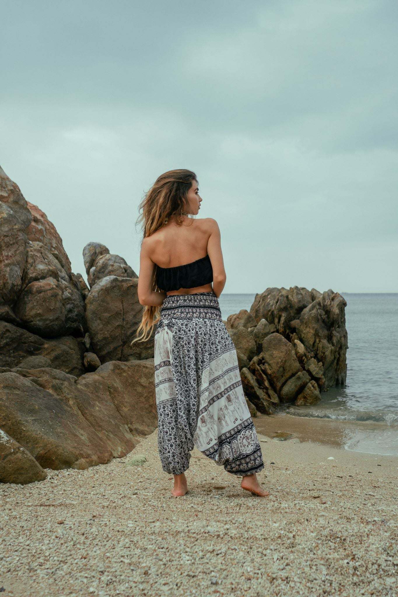 Harem Pants - Thai Elephant Print - Black