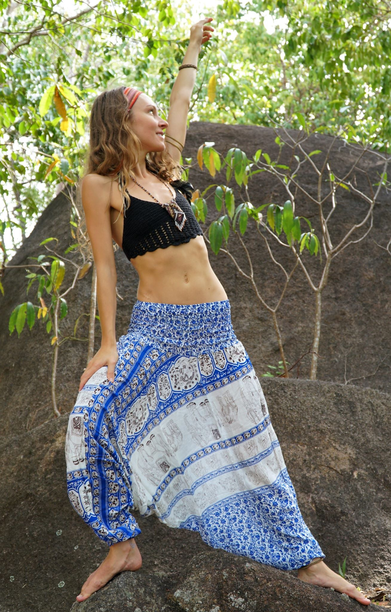 Harem Pants - Thai Elephant Print - Blue