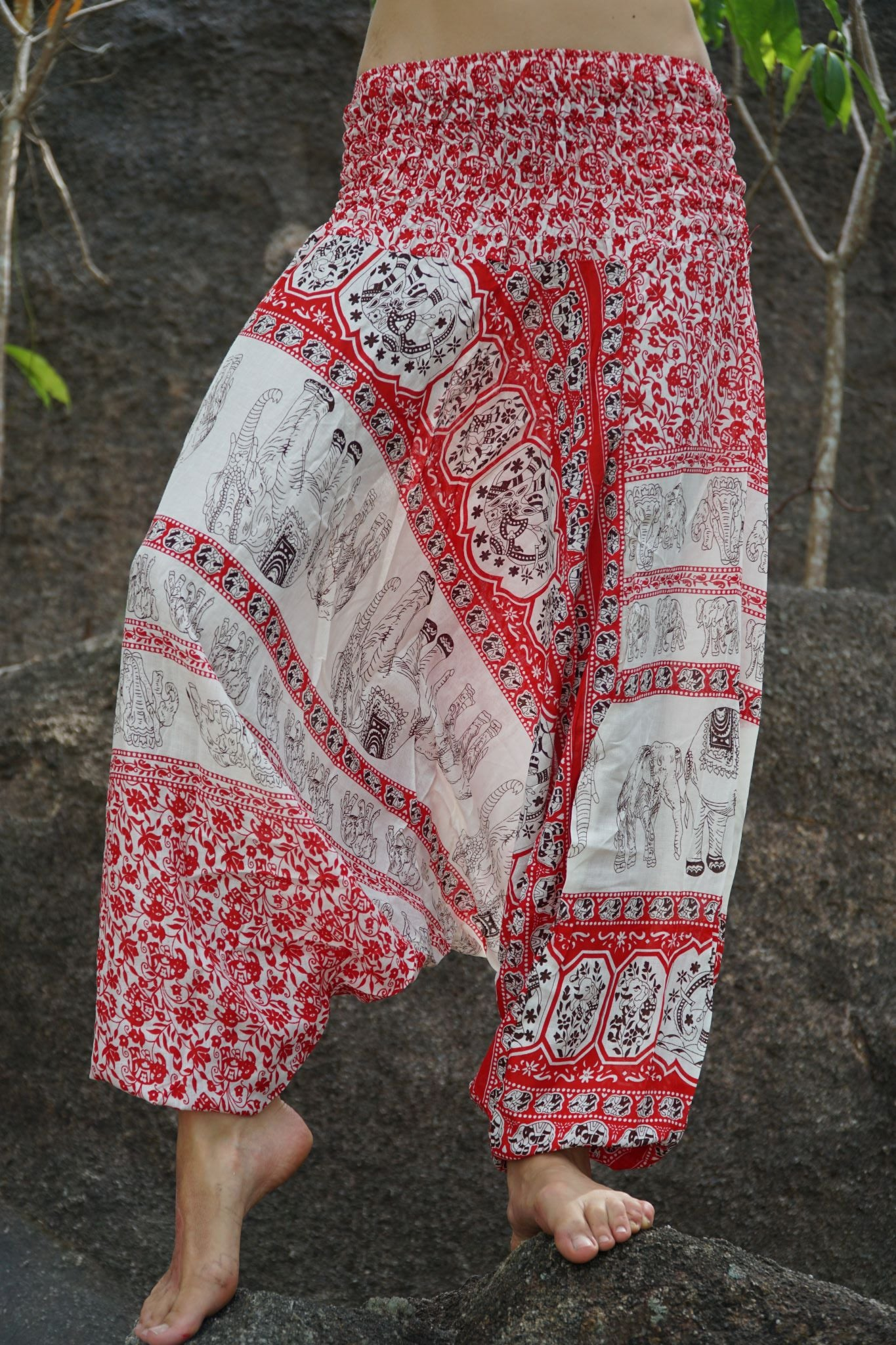 Harem Pants - Thai Elephant Print - Red