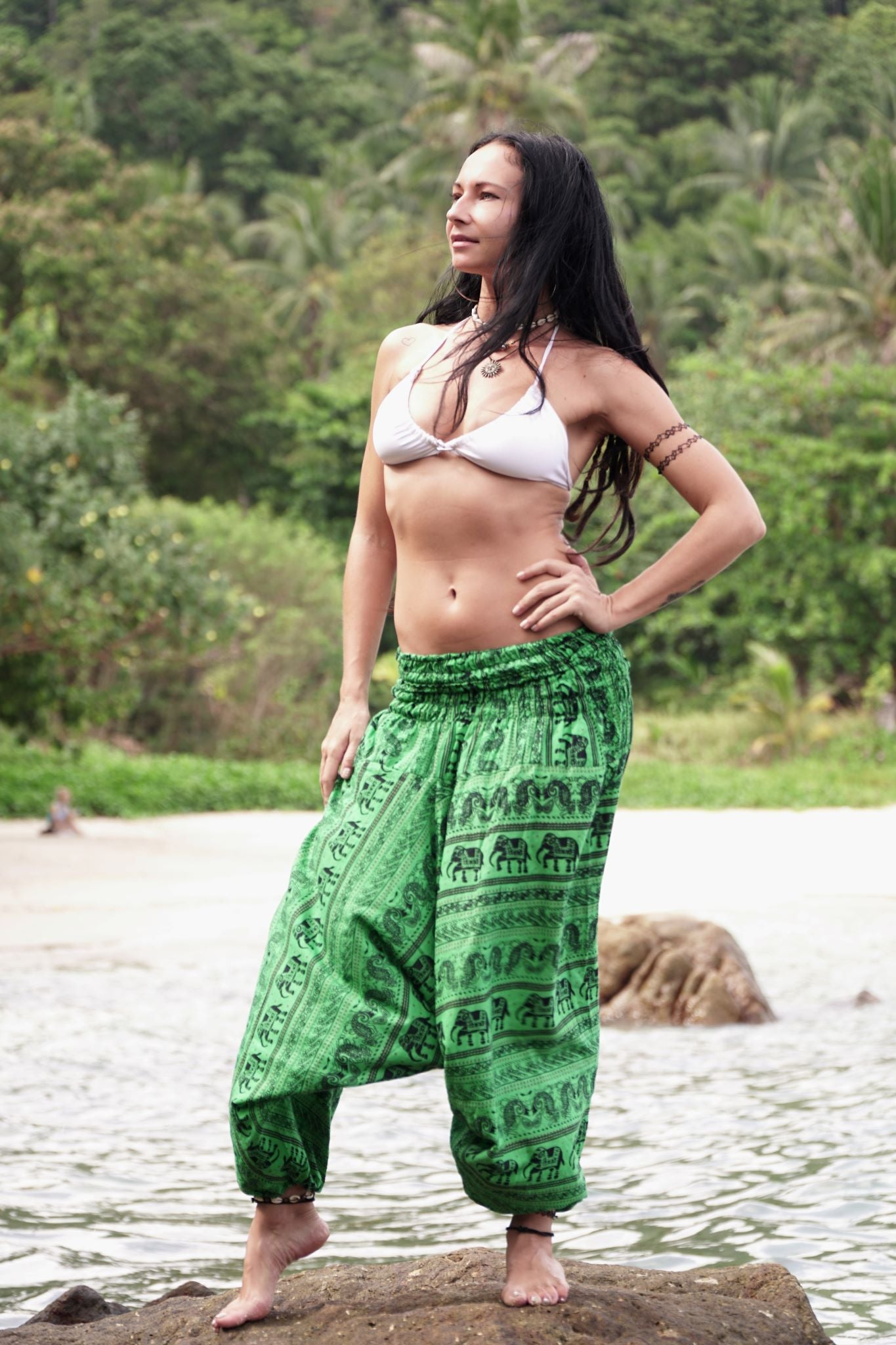 Harem Pants - Elephant Print - Green