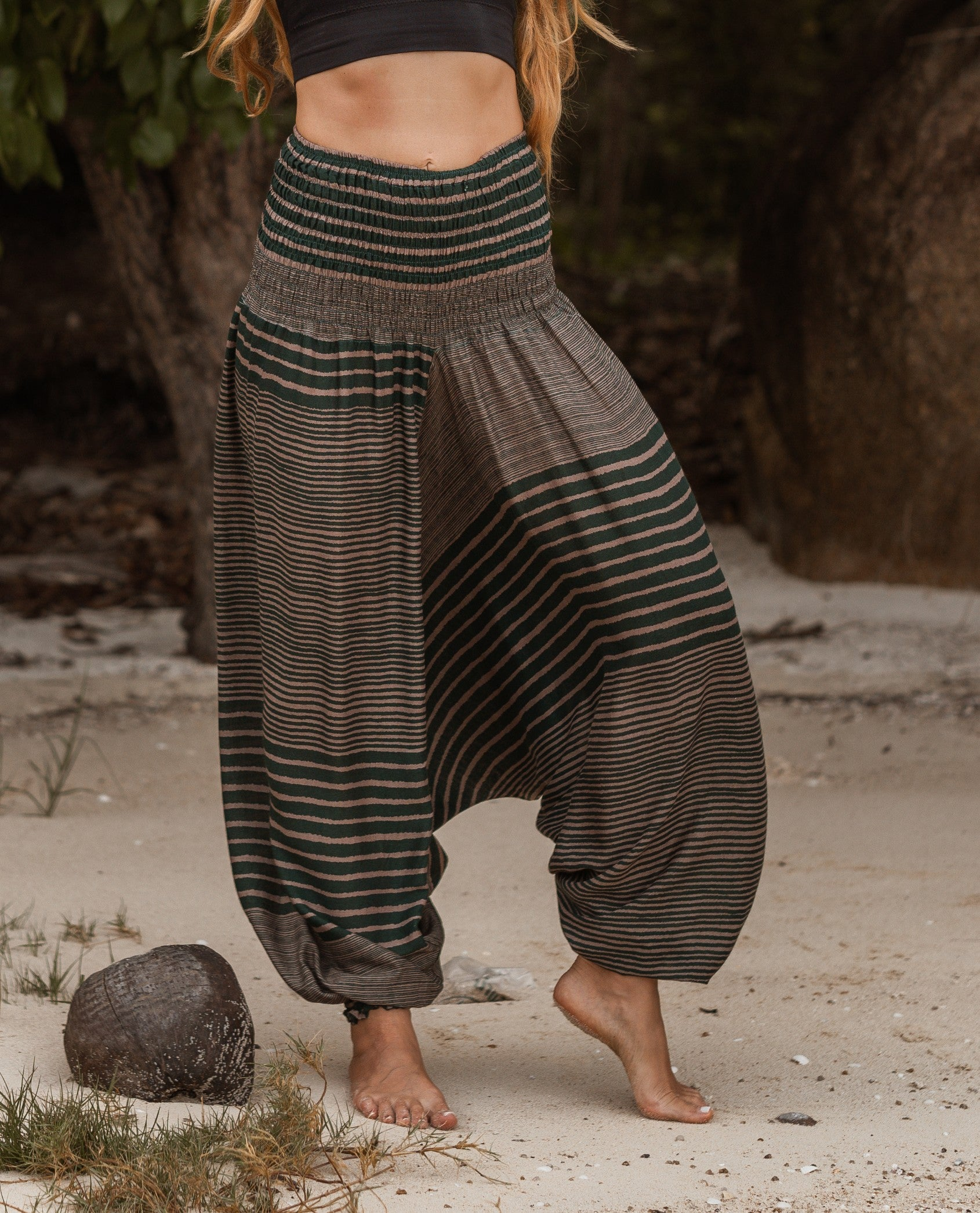 Harem Pants - Striped - Green