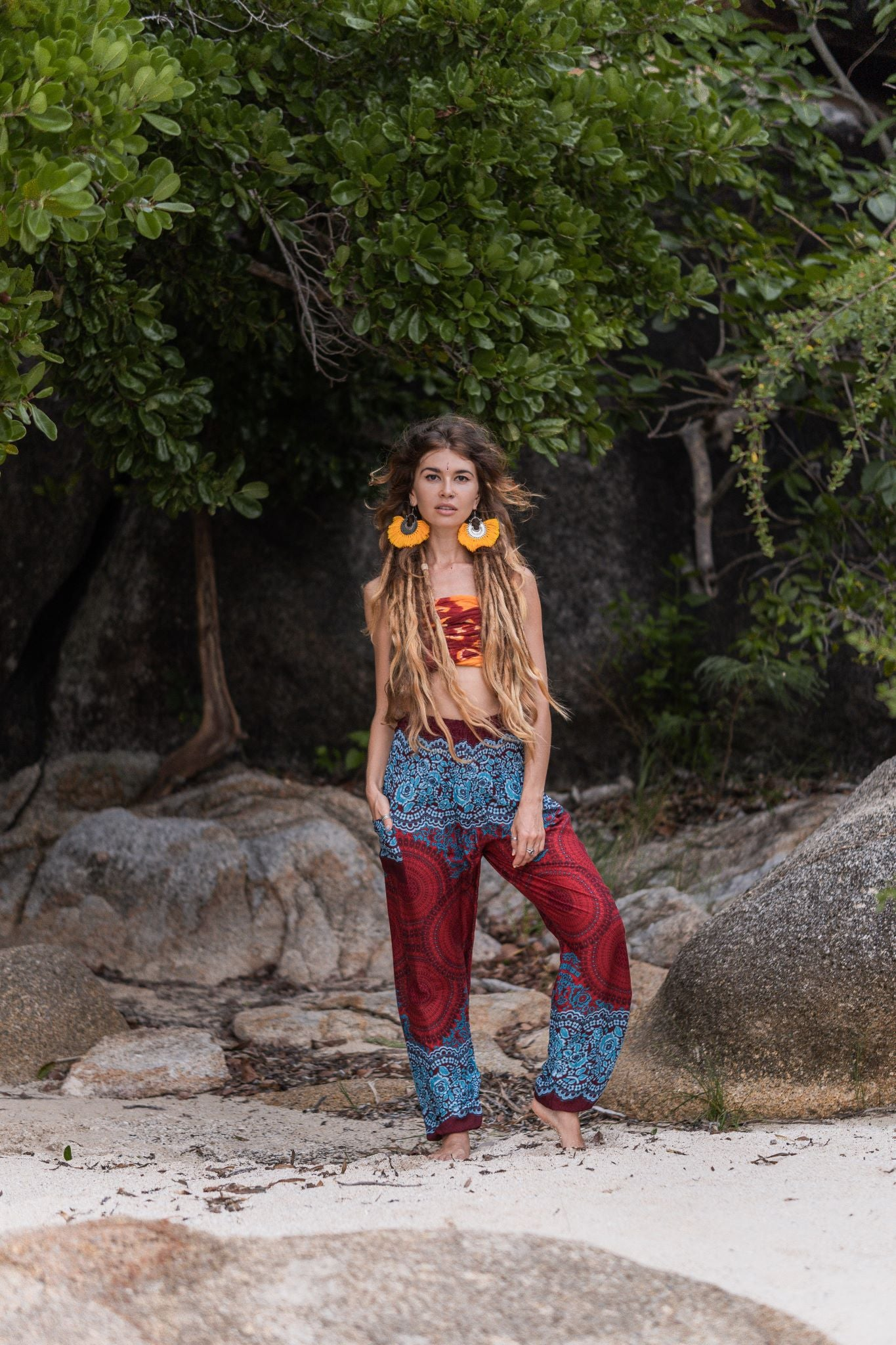 High Cut Harem Pants - Mandala Print - Red