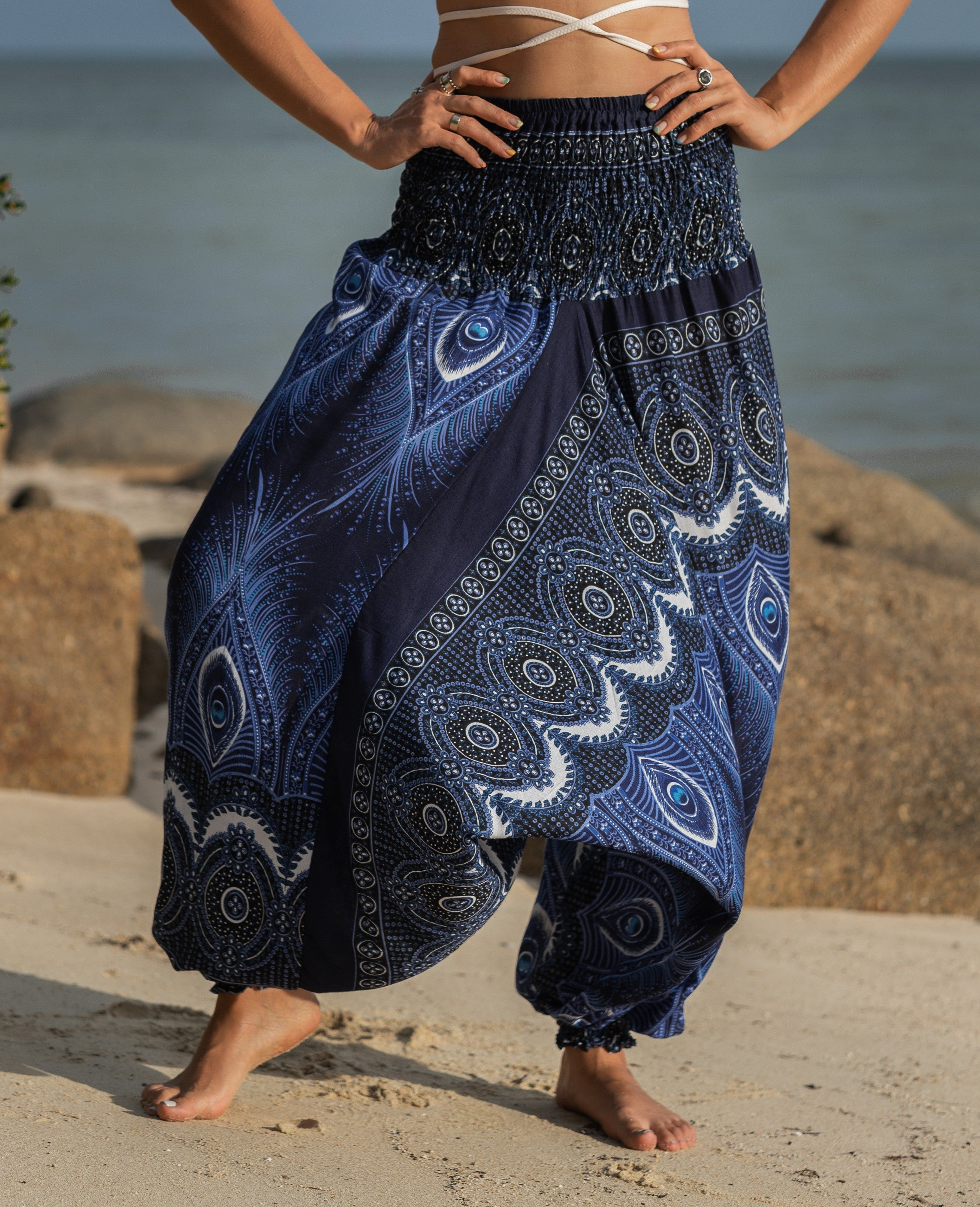 Harem Pants - Vibrant Peacock Feather - Blue
