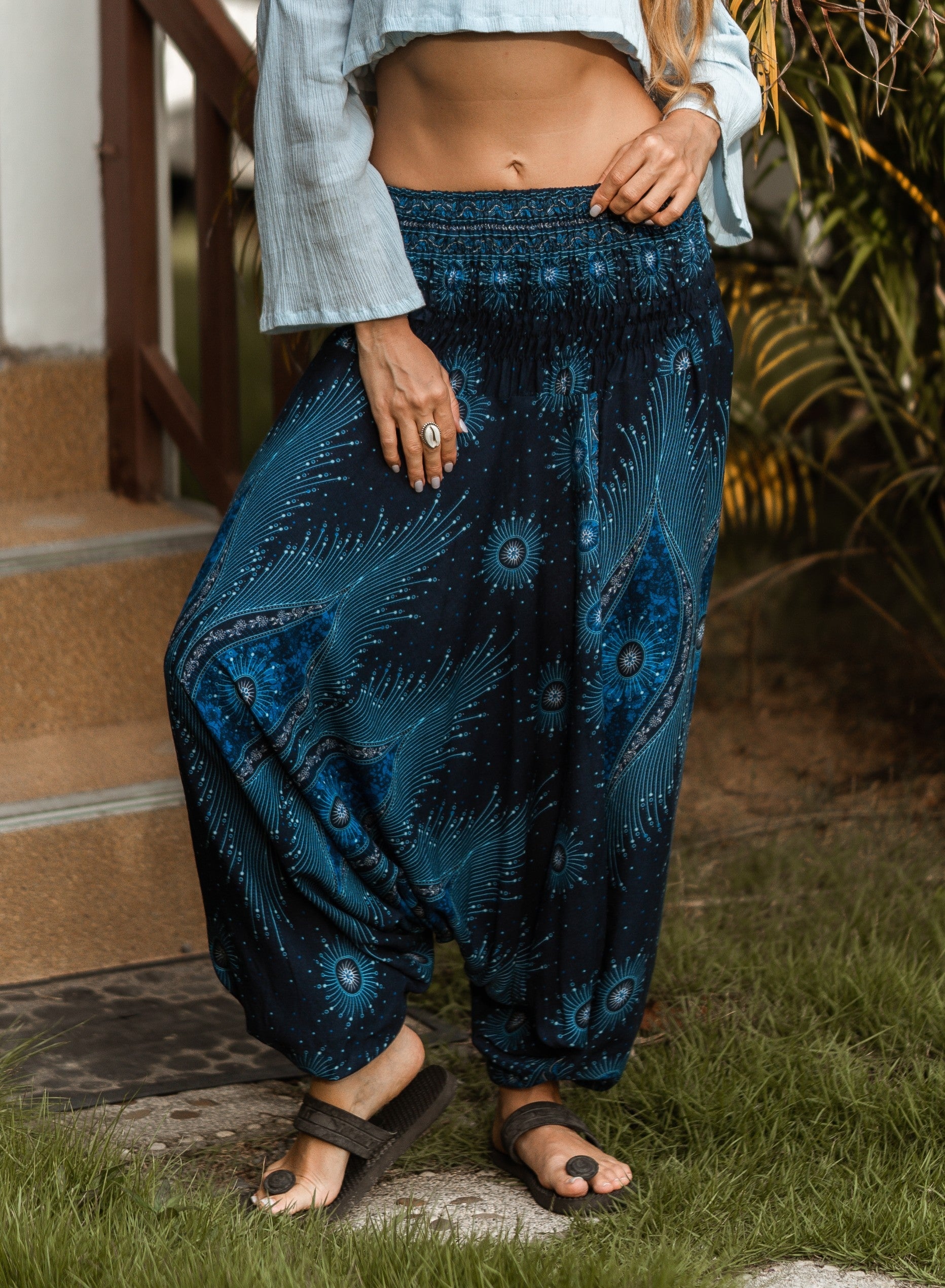 Harem Pants - Dazzling Peacock Feather - Blue