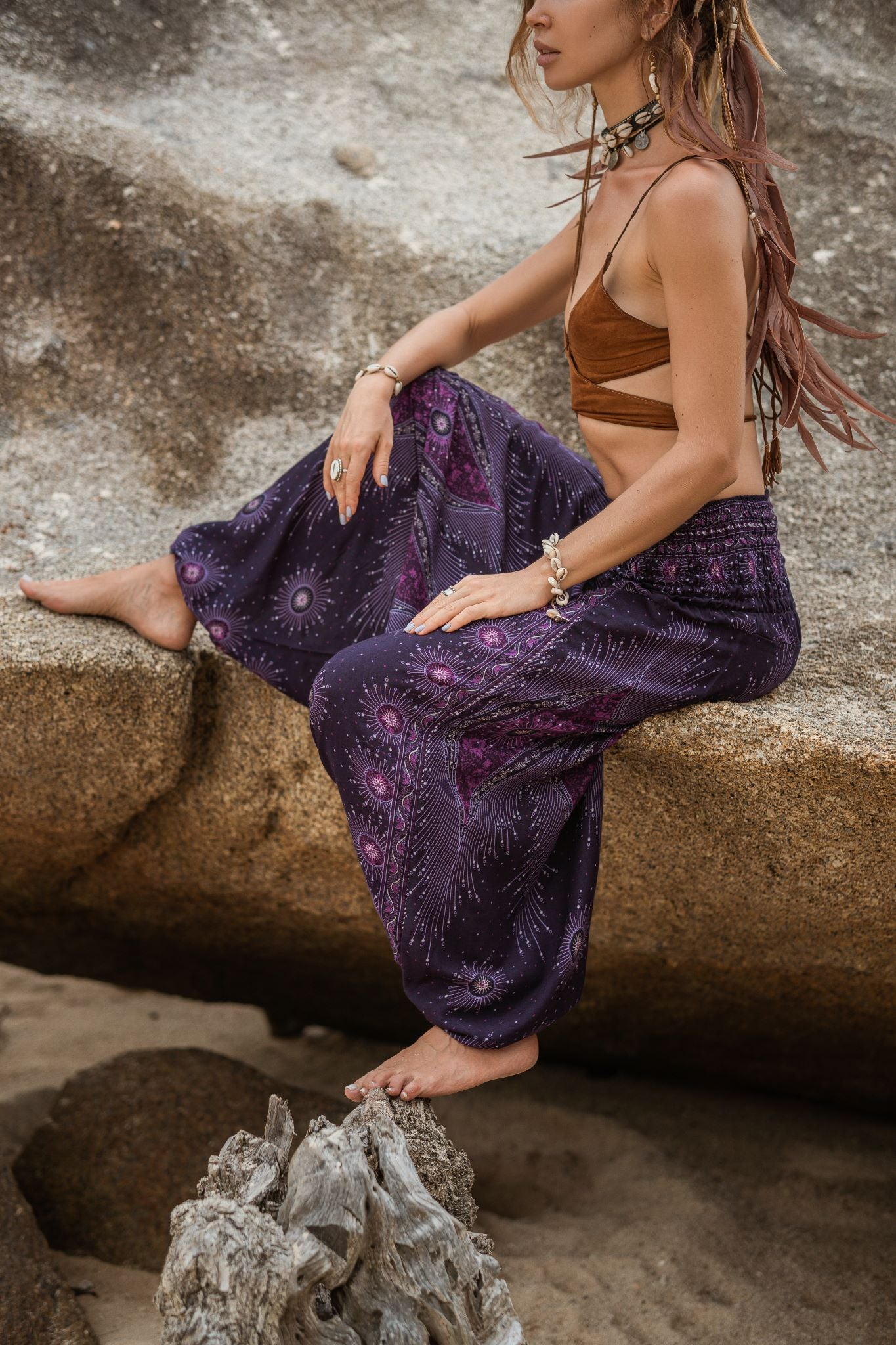 Harem Pants - Dazzling Peacock Feather - Purple