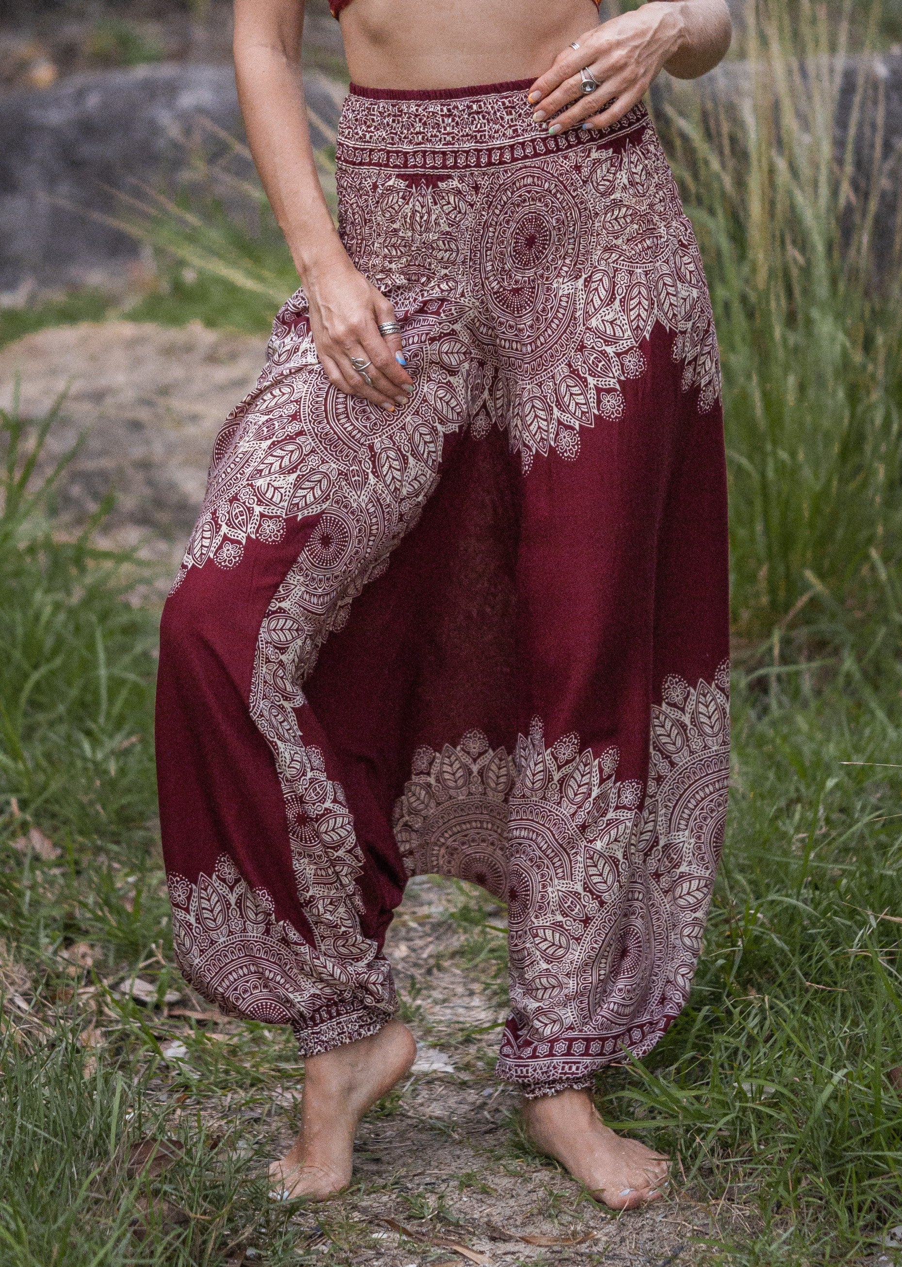 Harem Pants - Plain Mandala Print - Red