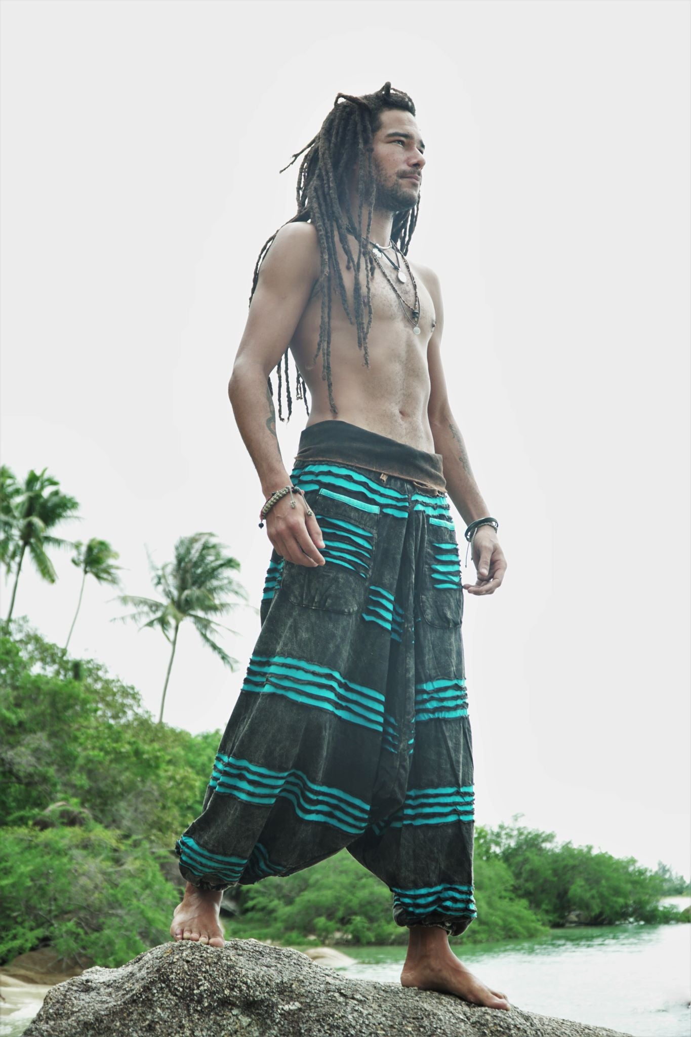 Harem Pants - Stonewashed Razorcut - Blue
