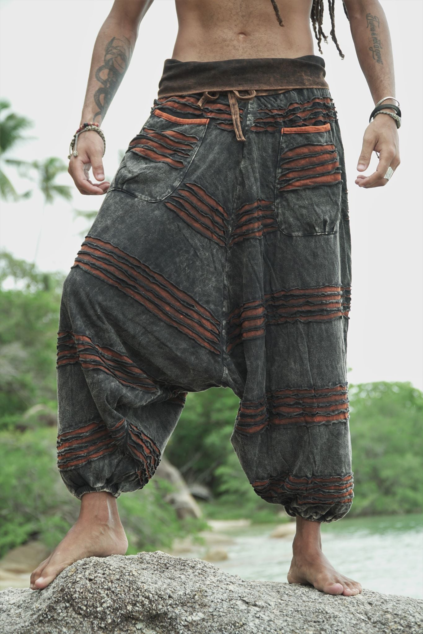 Harem Pants - Stonewashed Razorcut - Rusty Orange