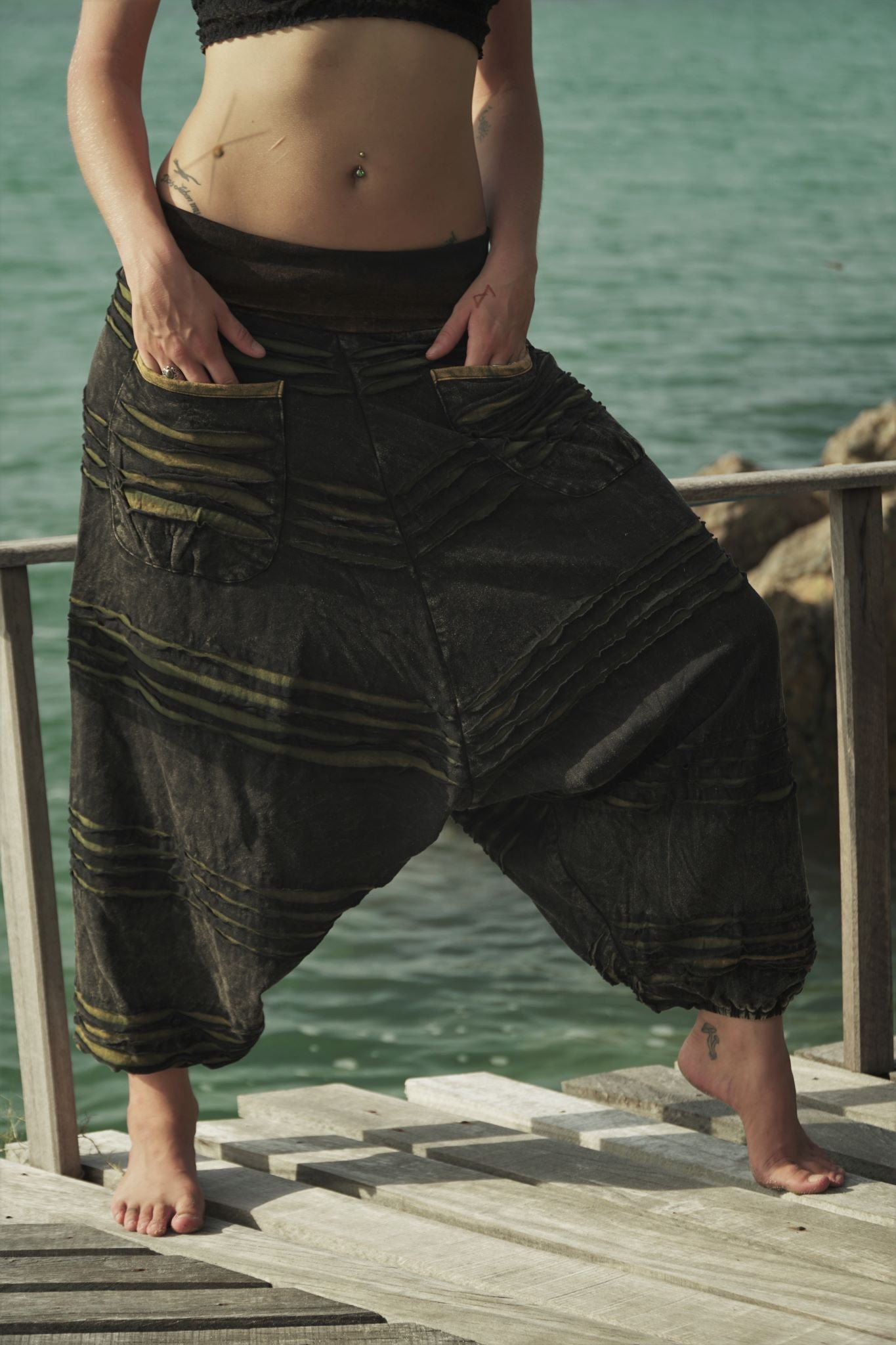Harem Pants - Stonewashed Razorcut - Green