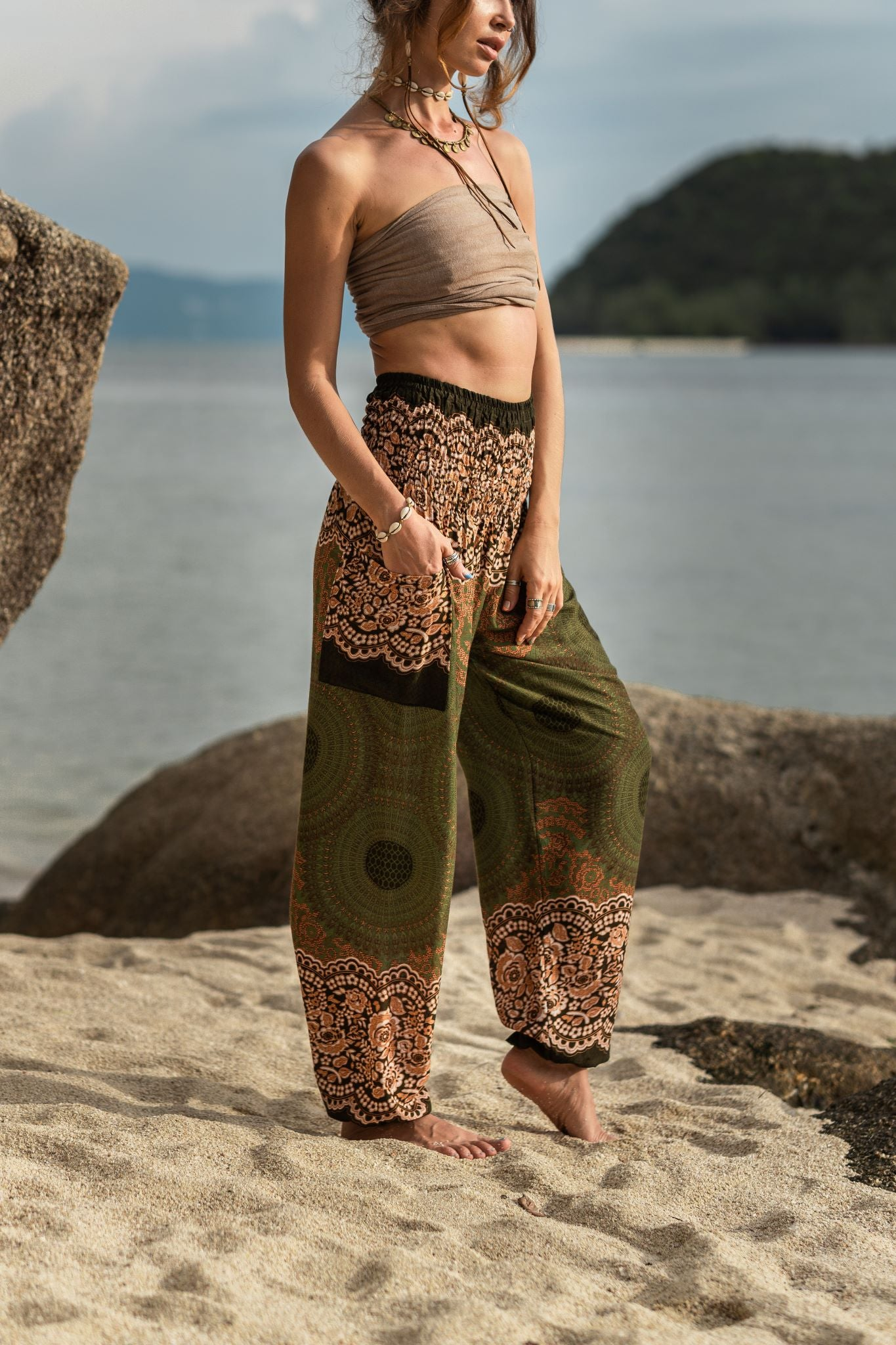High Cut Harem Pants - Mandala Print - Green