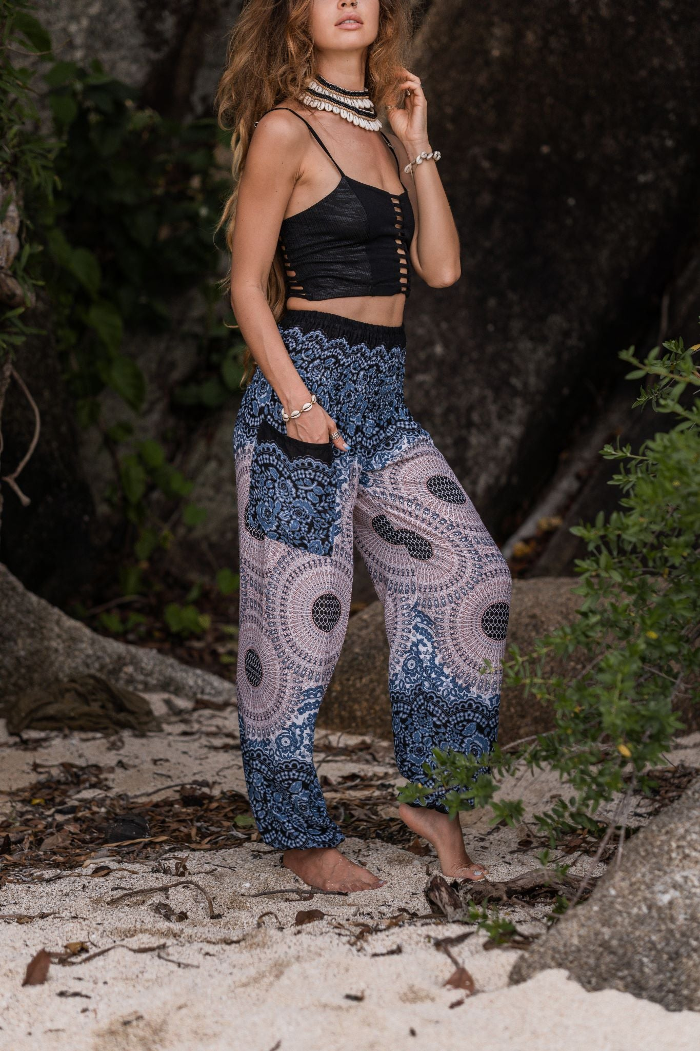 High Cut Harem Pants - Mandala Print - White