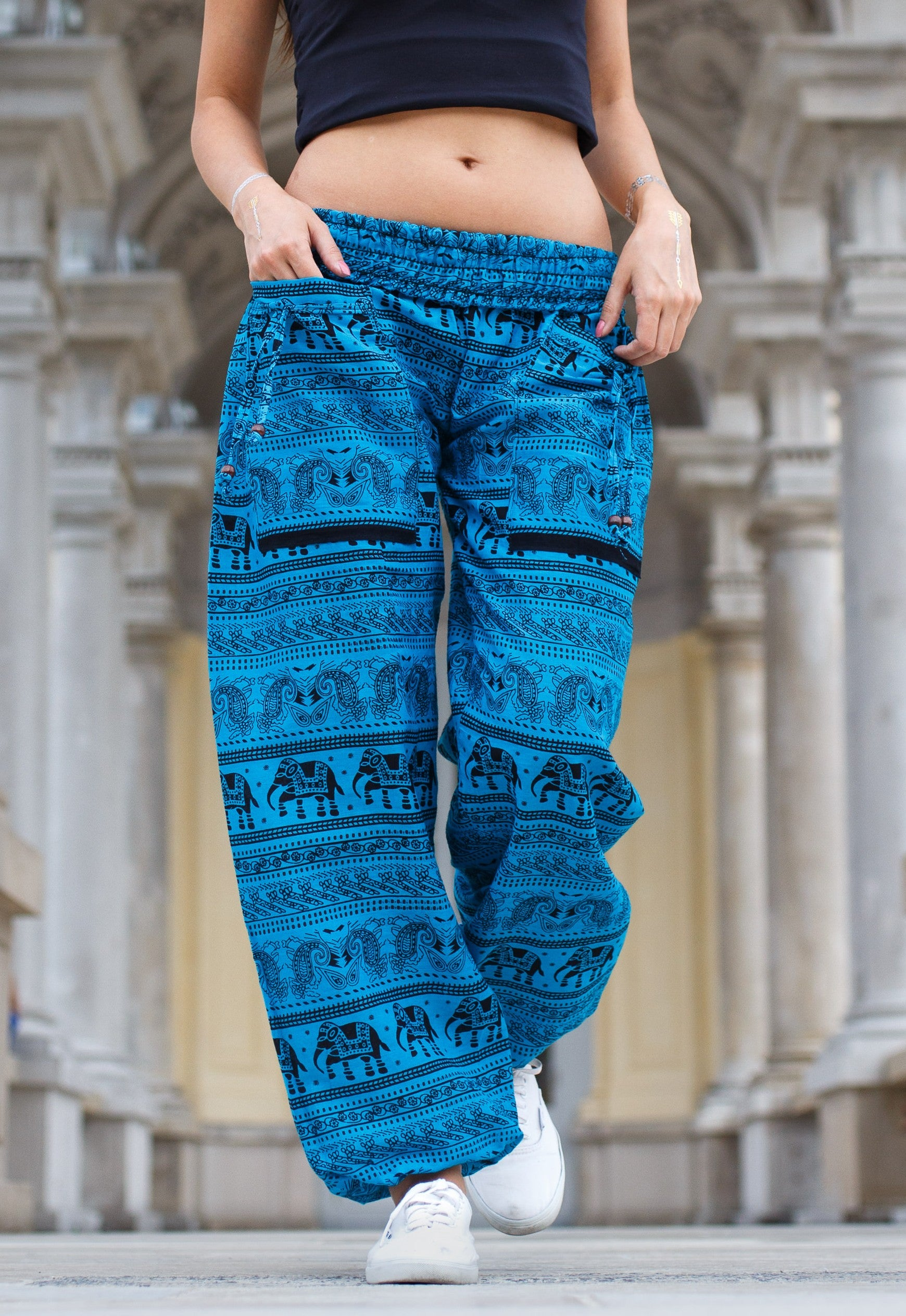 High Cut Harem Pants - Elephant Print - Bright Blue