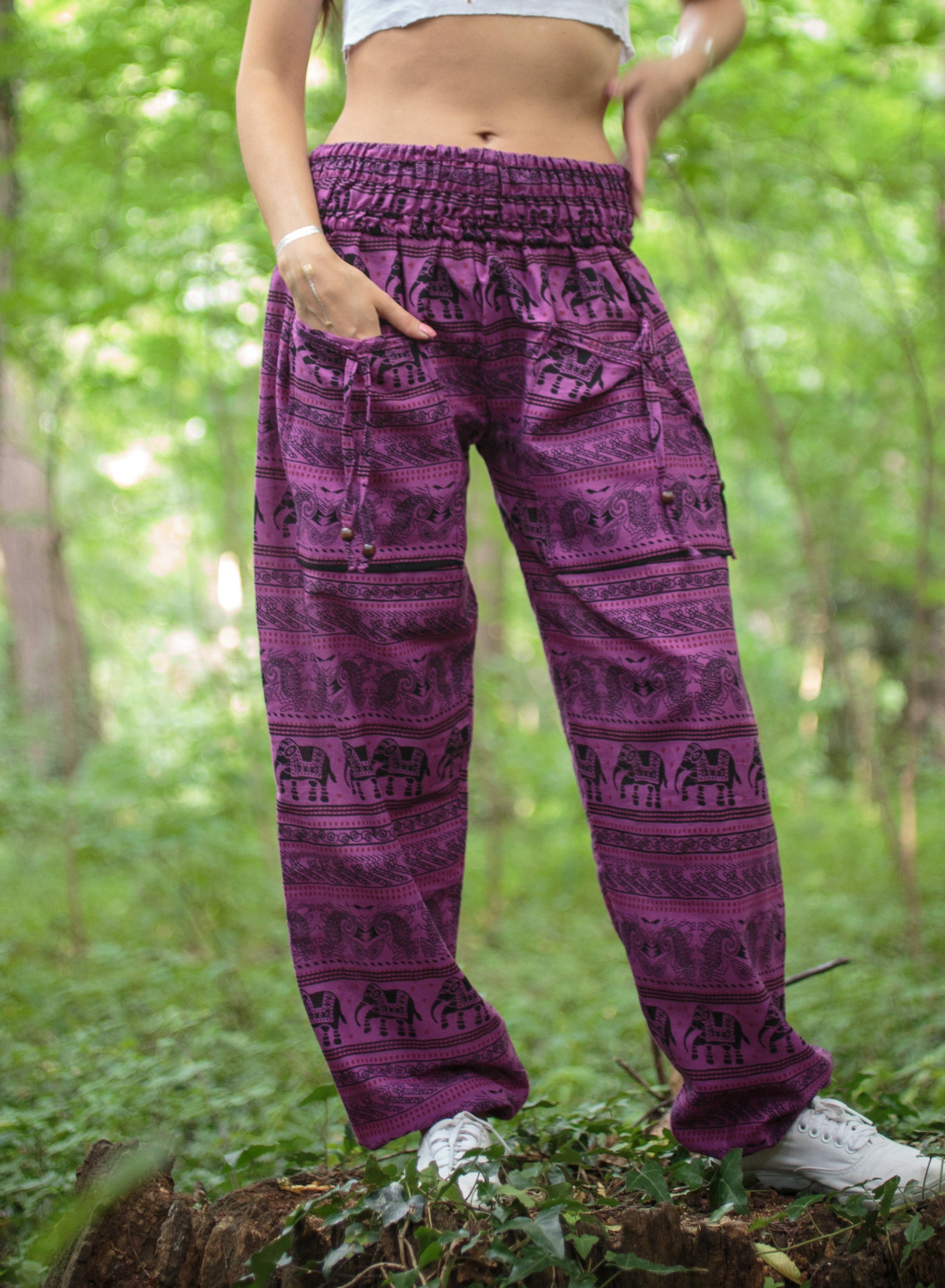 High Cut Harem Pants - Elephant Print - Pink