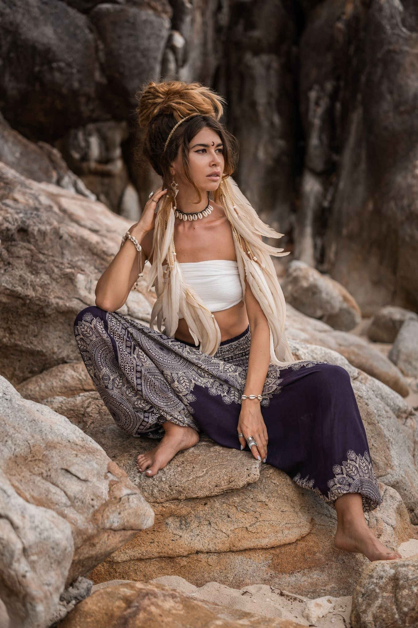 Harem Pants - Plain Mandala Print - Purple
