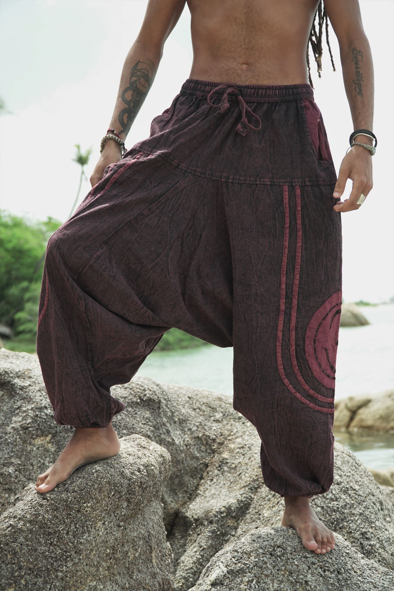 Harem Pants - Stonewash Ohm - Red