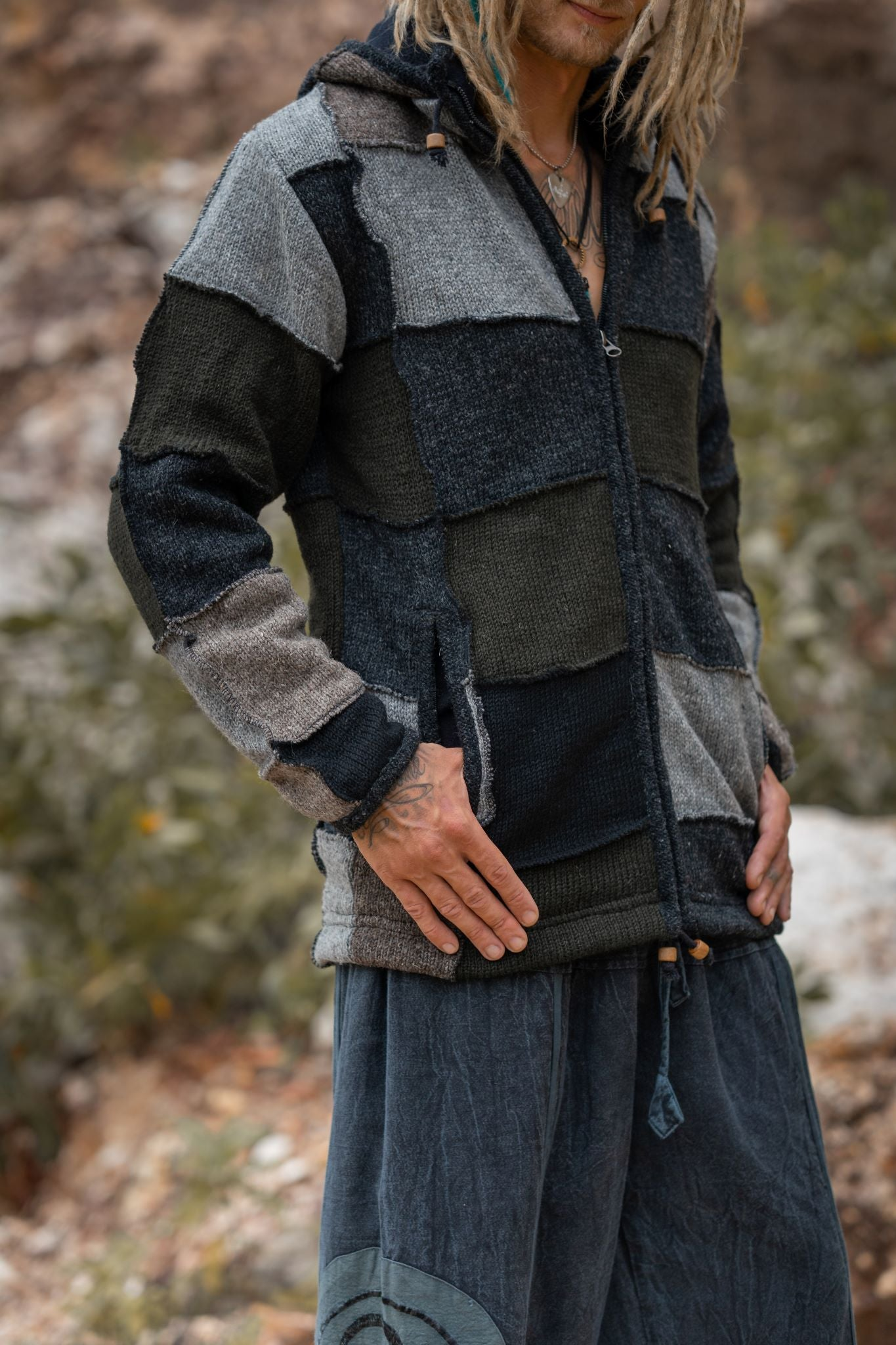 Wool Jacket - Patchwork - Grey/Green