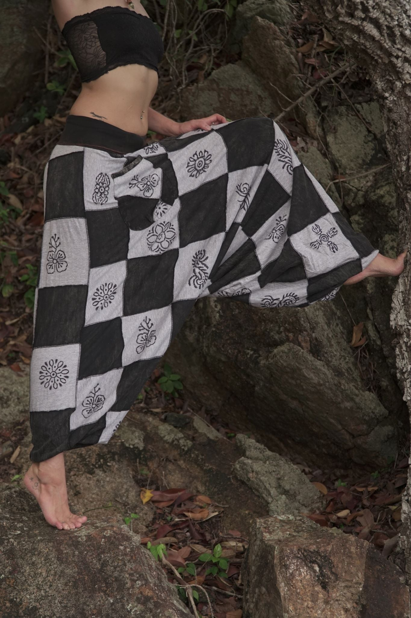 Harem Pants - Patchwork - Black & White