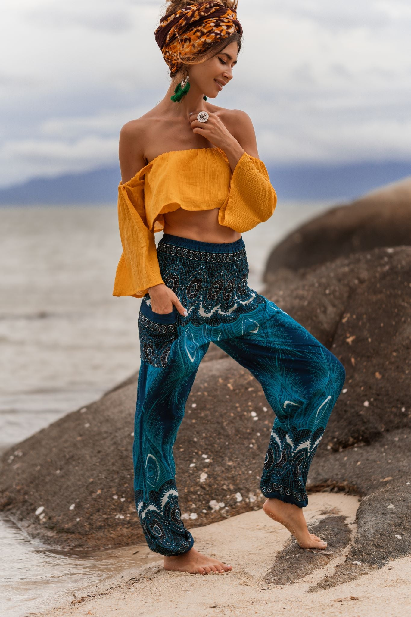 High Cut Harem Pants - Vibrant Peacock Feather Print - Sea Green