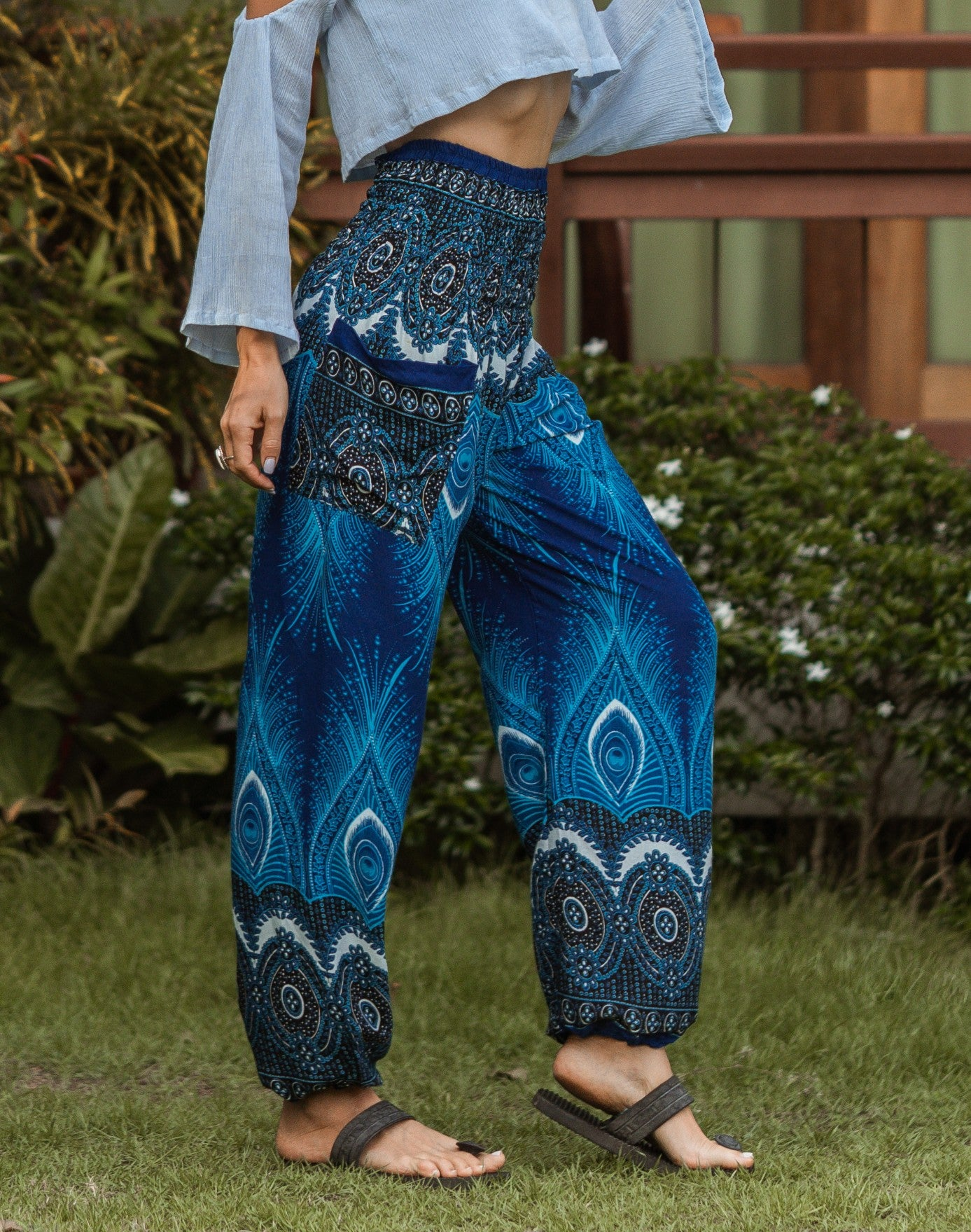 High Cut Harem Pants - Vibrant Peacock Feather Print - Bright Blue