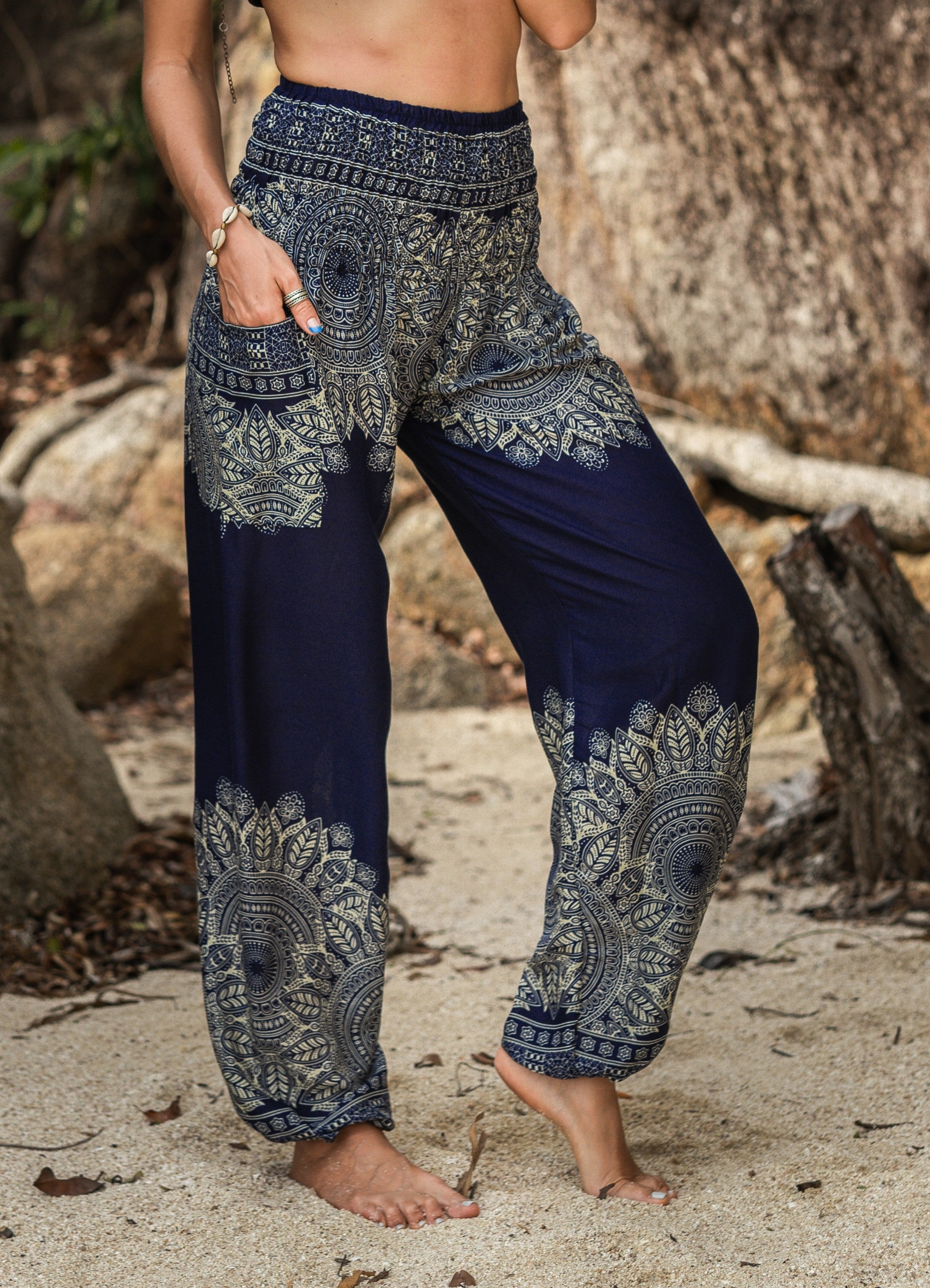 High Cut Harem Pants - Plain Mandala Print - Blue