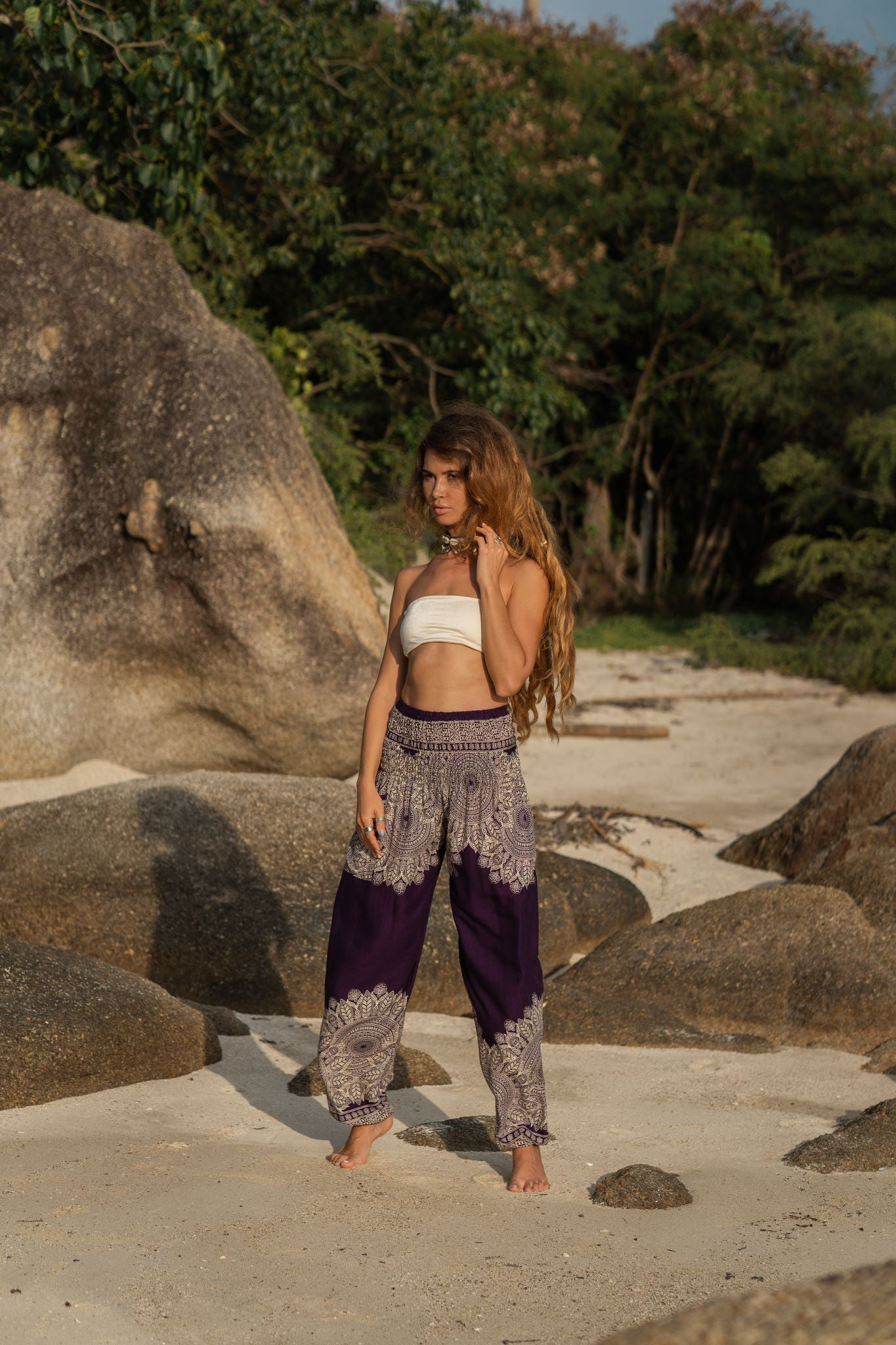 High Cut Harem Pants - Plain Mandala Print - Purple