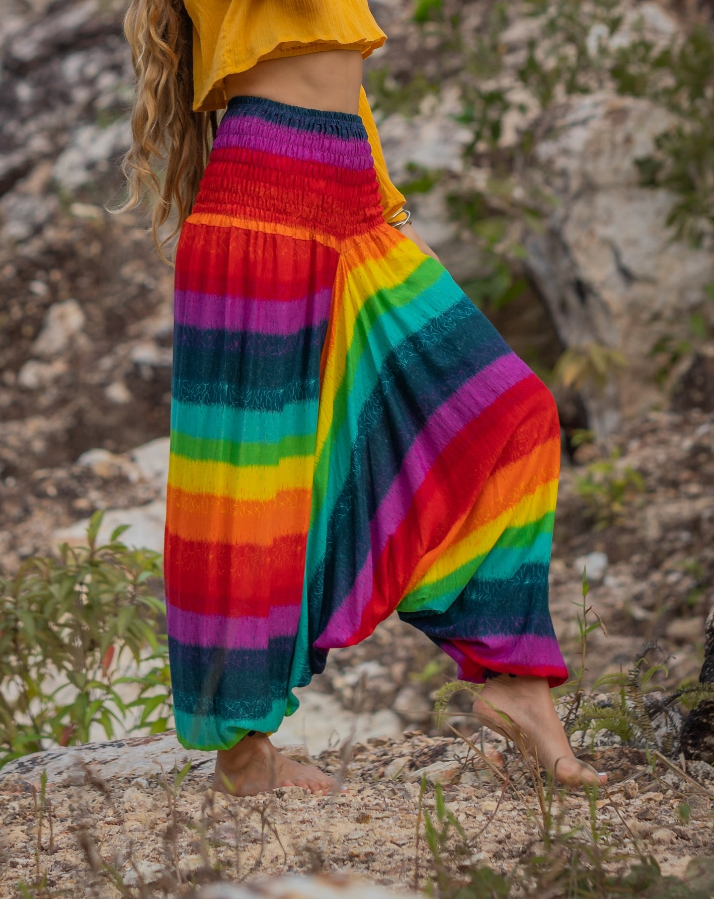 Harem Pants - Rainbow - Aqua