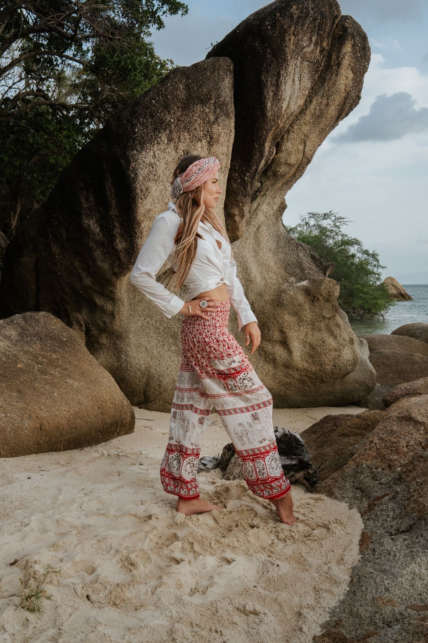High Cut Harem Pants - Thai Elephant Print - Red