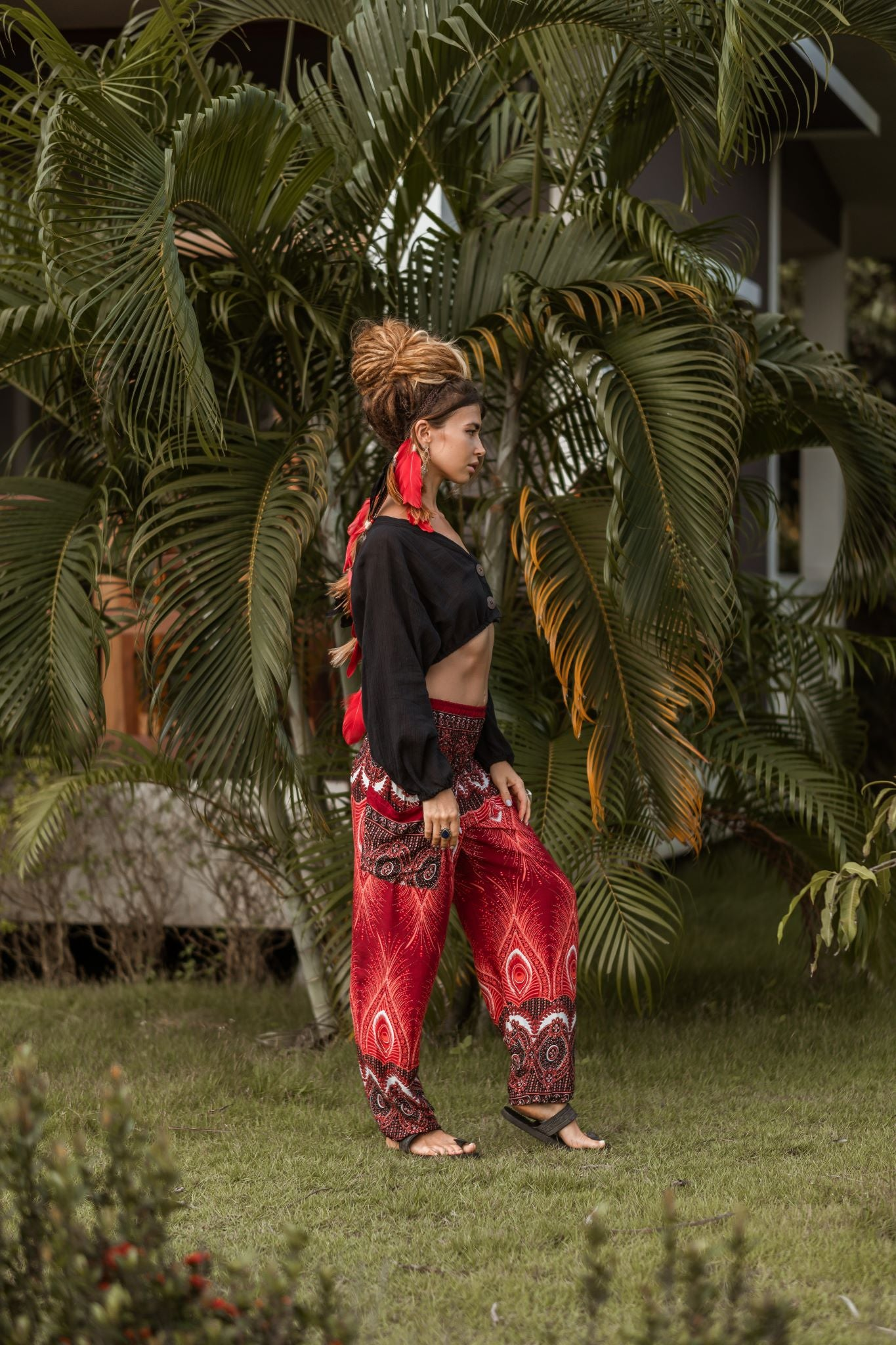 High Cut Harem Pants - Vibrant Peacock Feather Print - Red