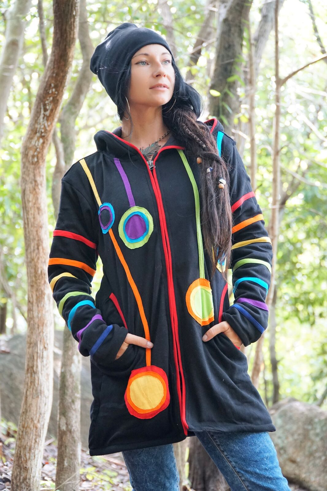 Hoodie - Fleece Lined - Long Wizard Rainbow with Pixie Hood