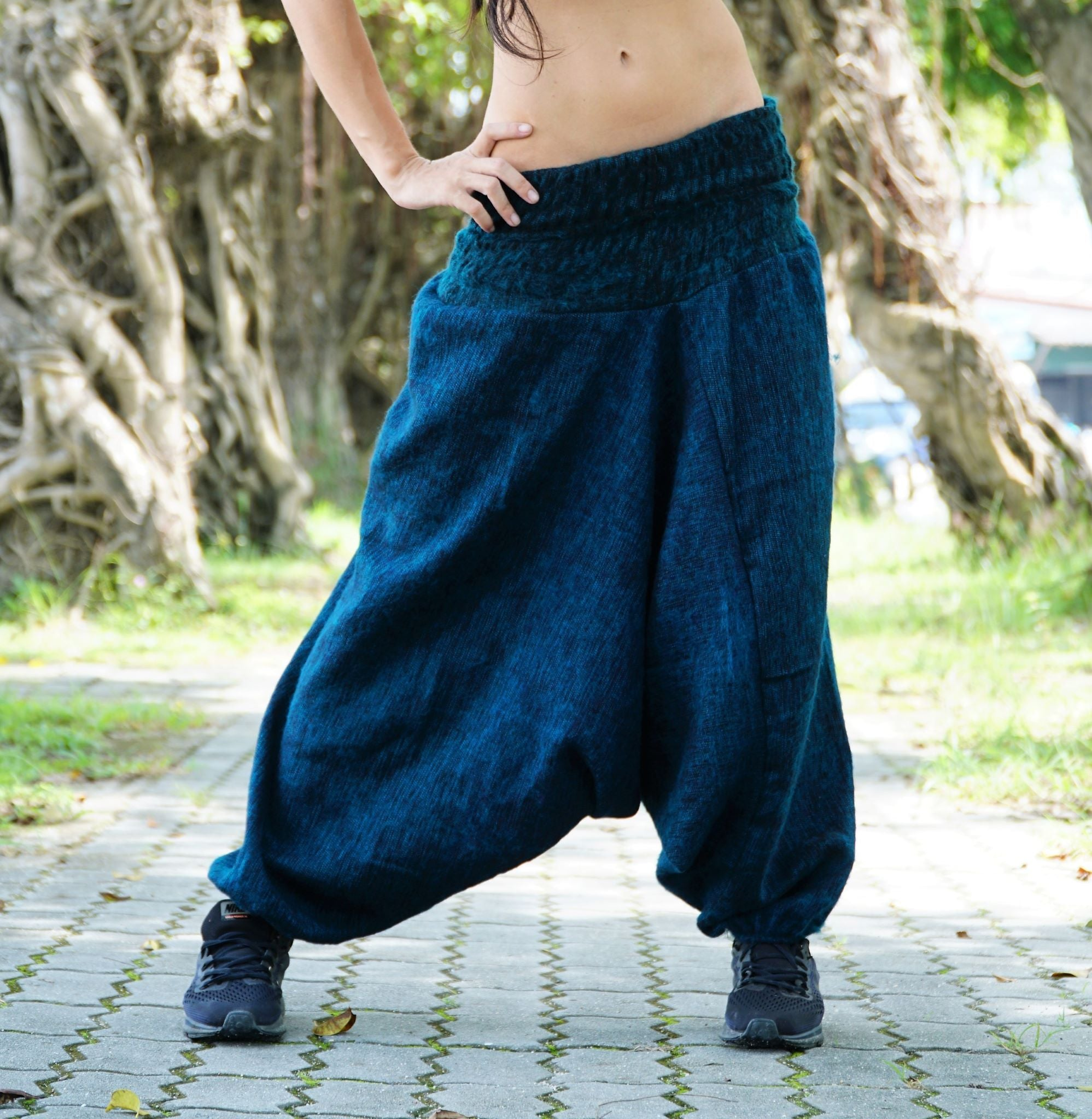 Warm Harem Pants - Cashmilon - Blue & Black Mix
