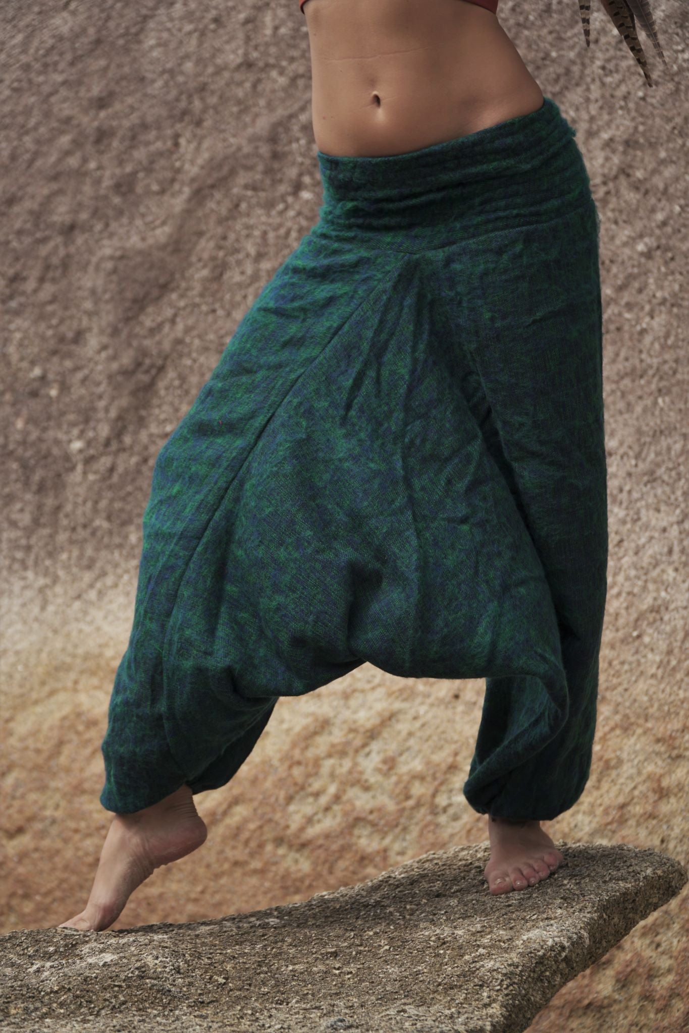 Warm Harem Pants - Cashmilon - Blue & Green Mix