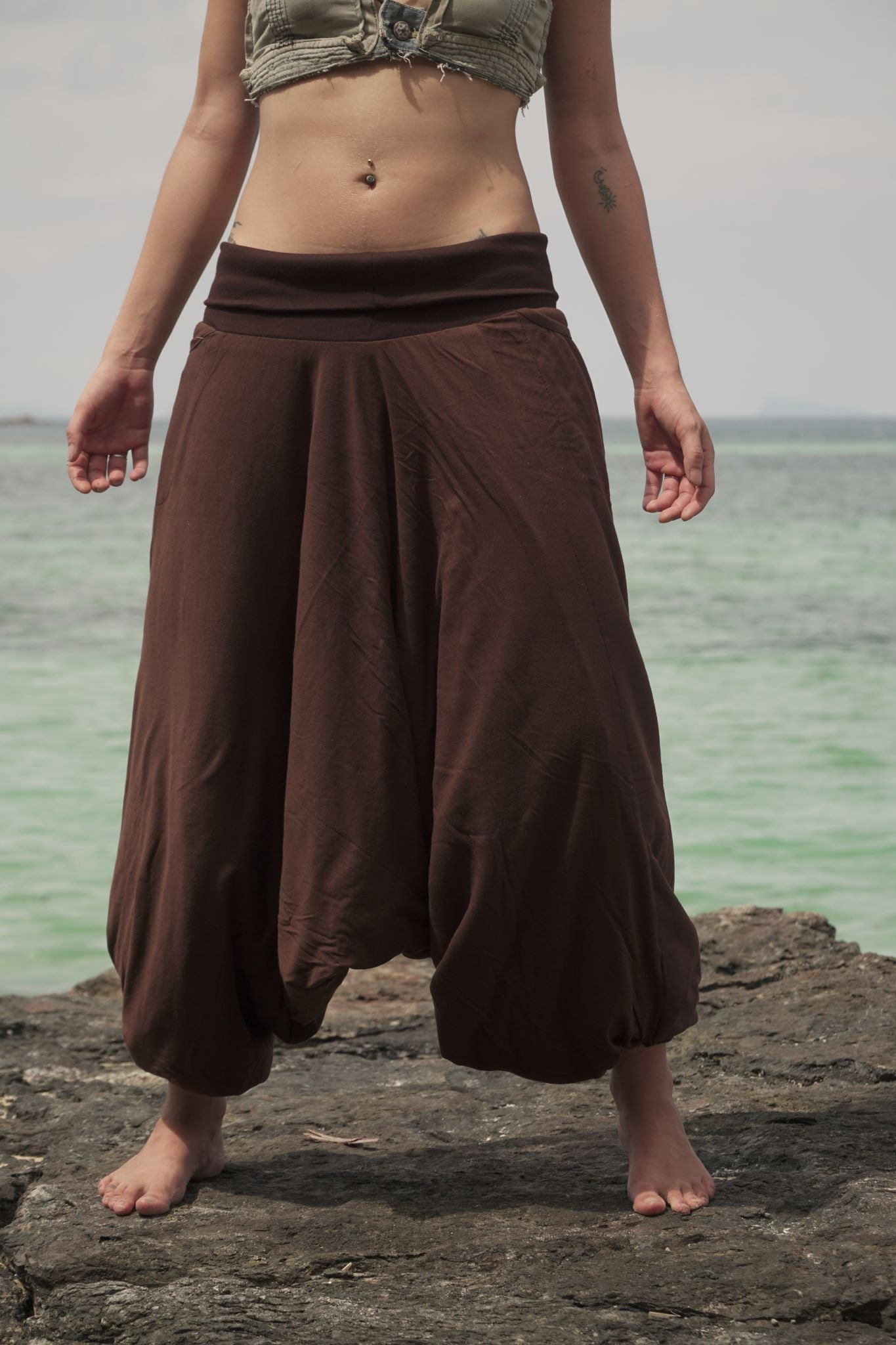 Fleece Lined Harem Pants - Plain - Brown