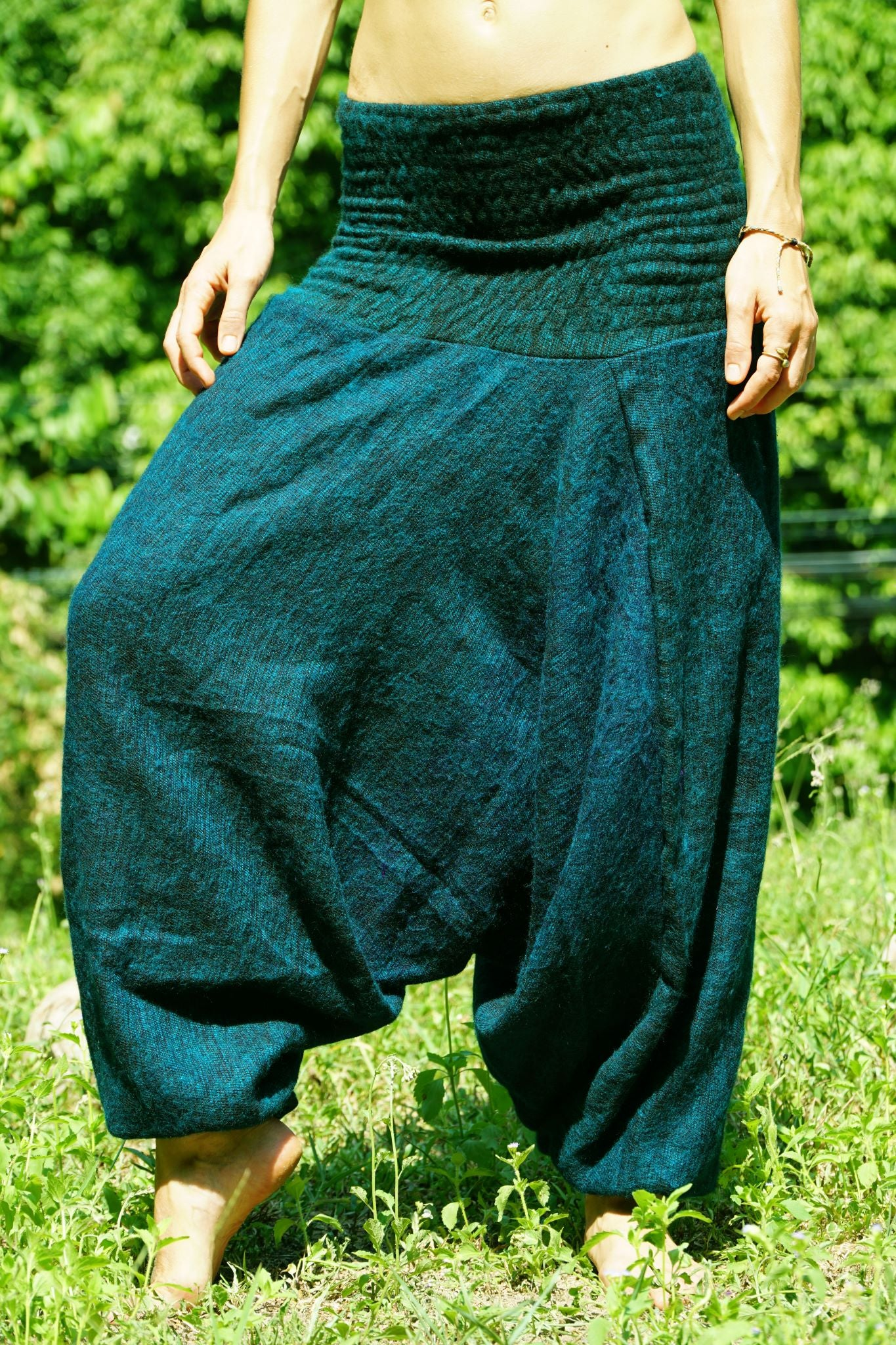 Warm Harem Pants - Cashmilon - Green & Black Mix