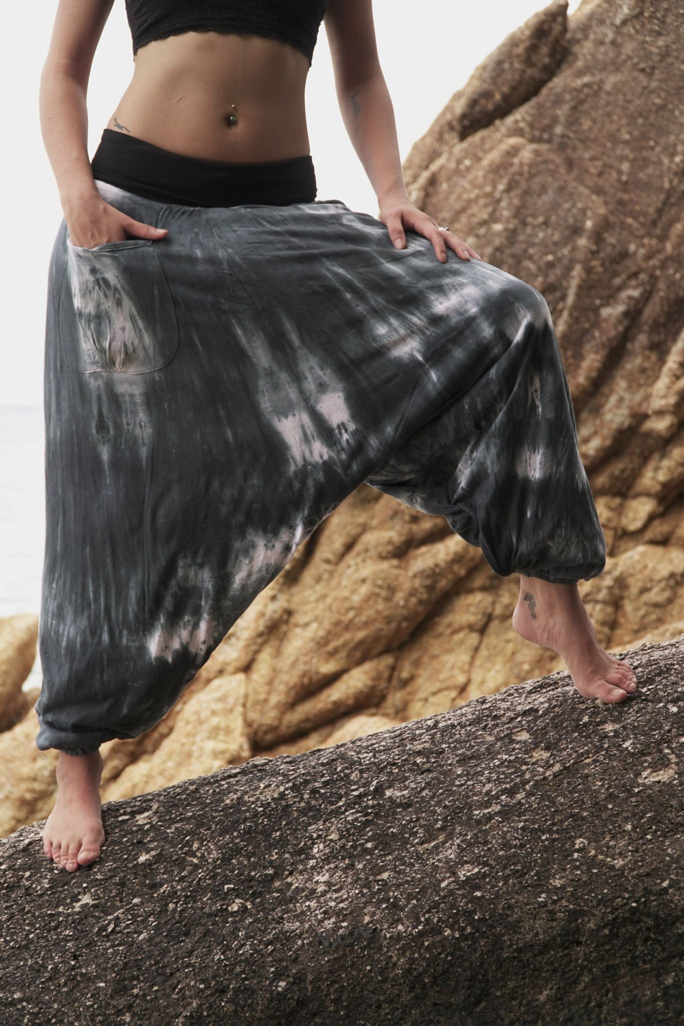 Fleece Lined Harem Pants - Tie Dye - Grey