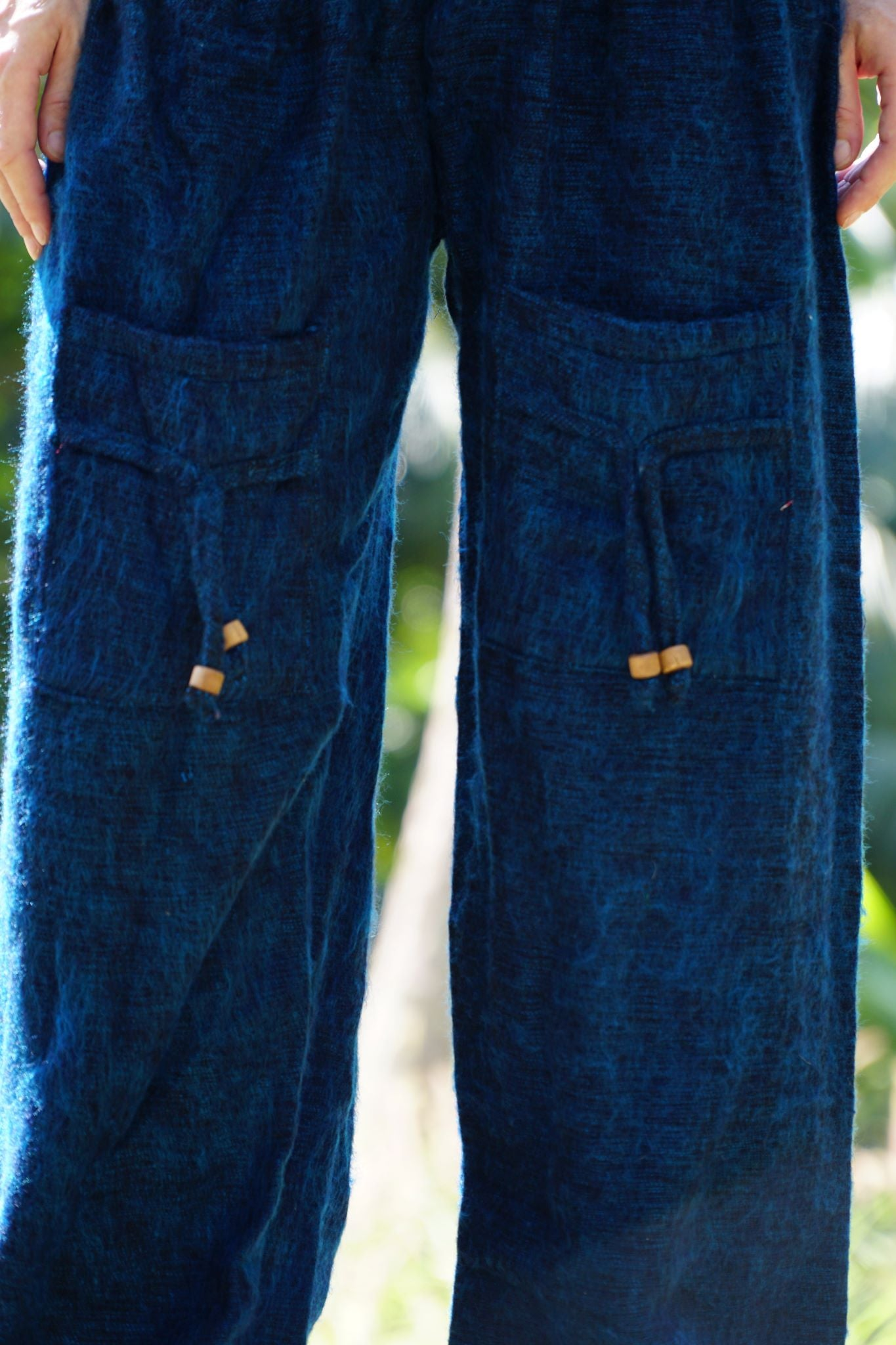 Warm High Crotch Harem Pants - Cashmilon - Blue & Black Mix